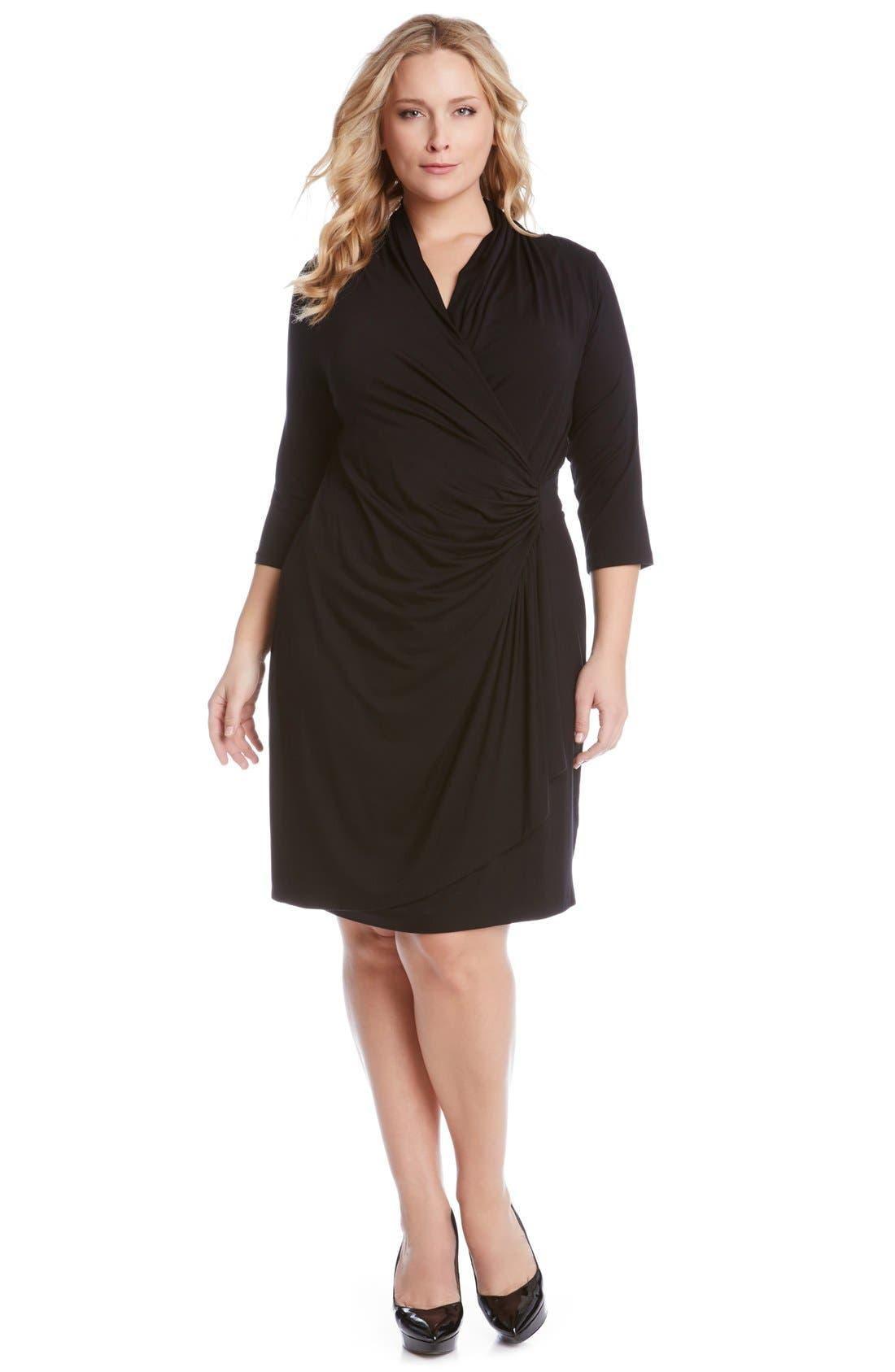 KAREN KANE, Three Quarter Sleeve Jersey Cascade Faux Wrap Dress, Alternate thumbnail 3, color, BLACK