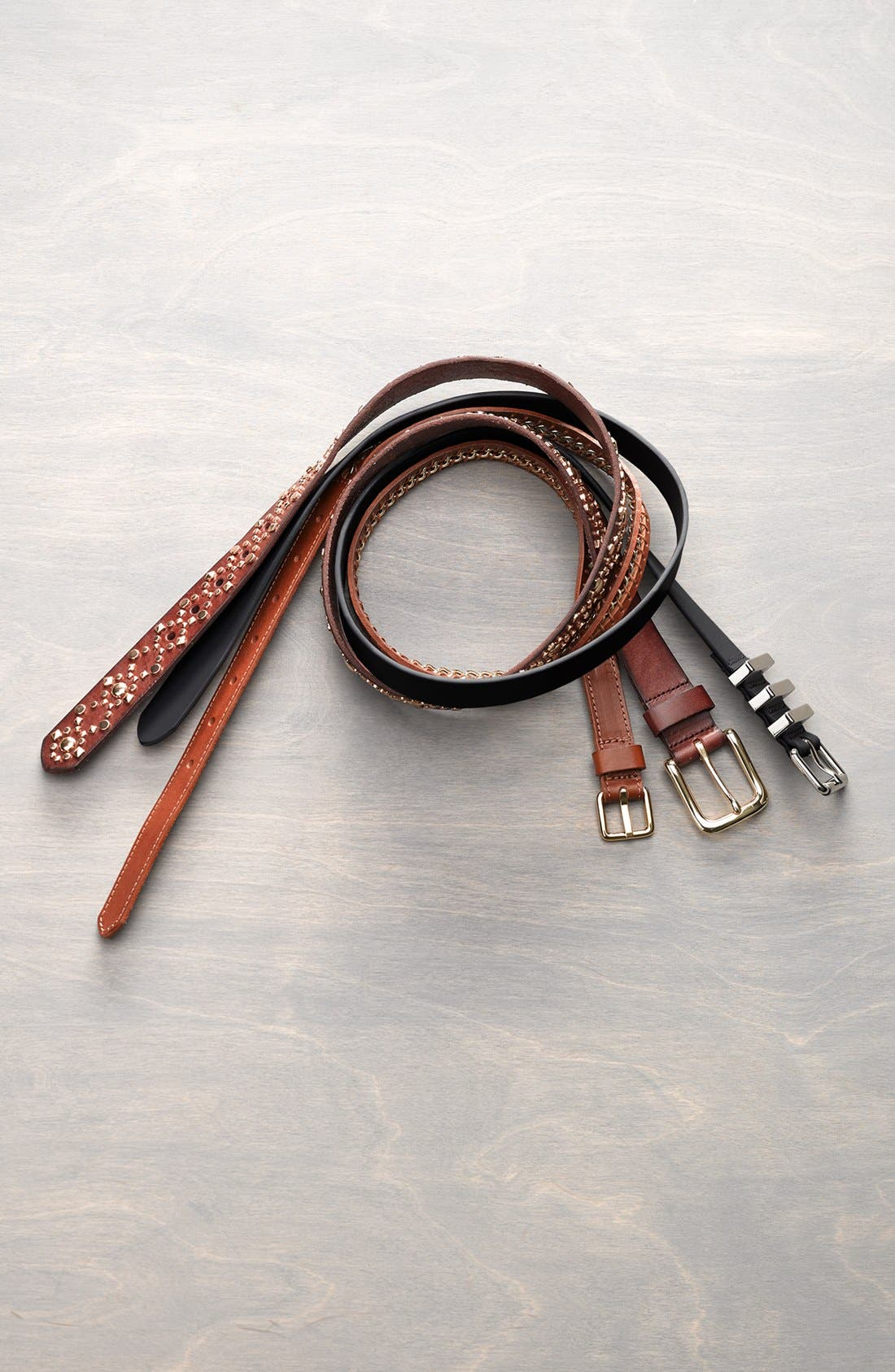 REBECCA MINKOFF, Suzy Leather Belt, Alternate thumbnail 3, color, LUGGAGE