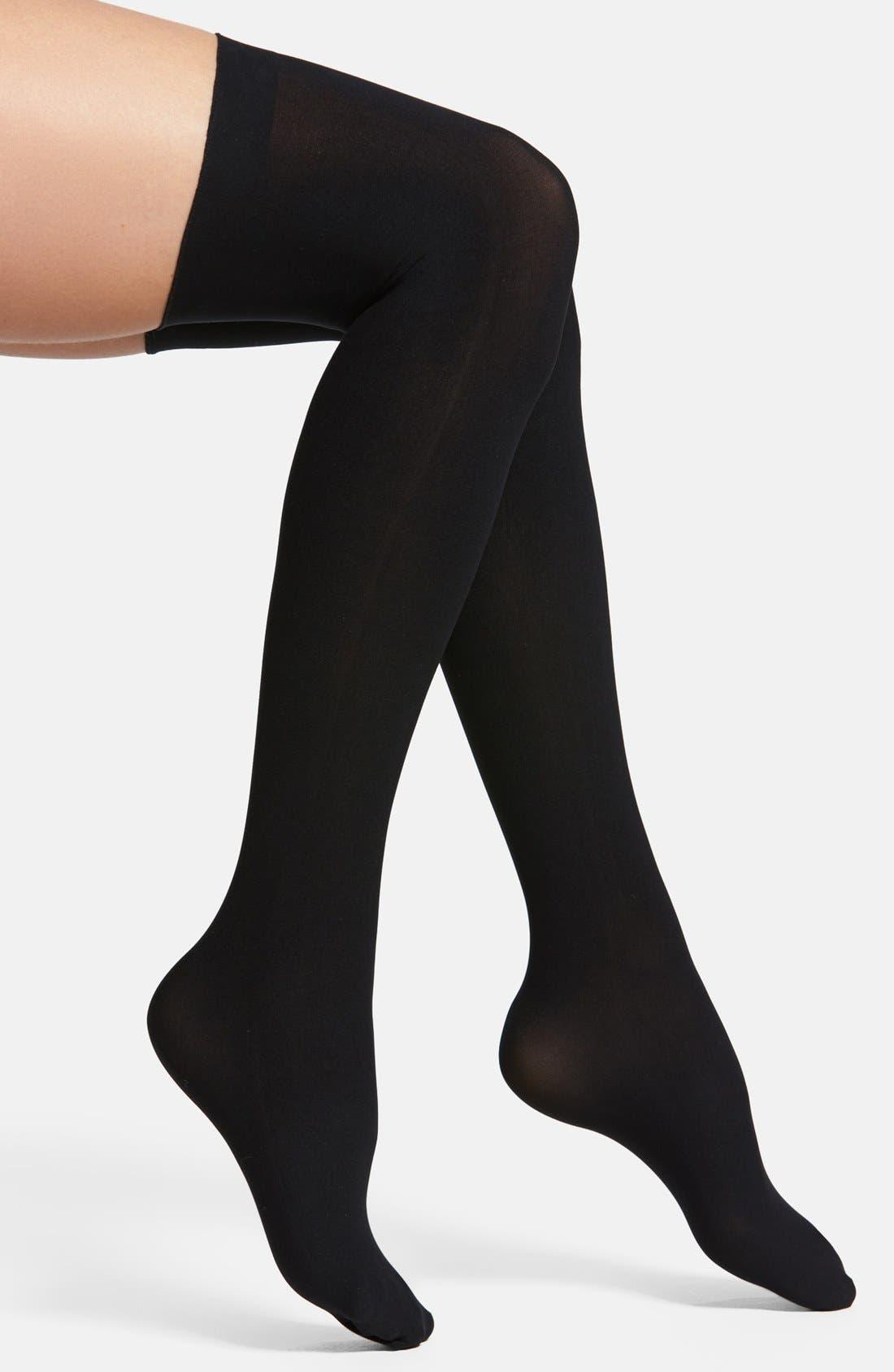 COMMANDO Up All Night Thigh High Socks, Main, color, BLACK