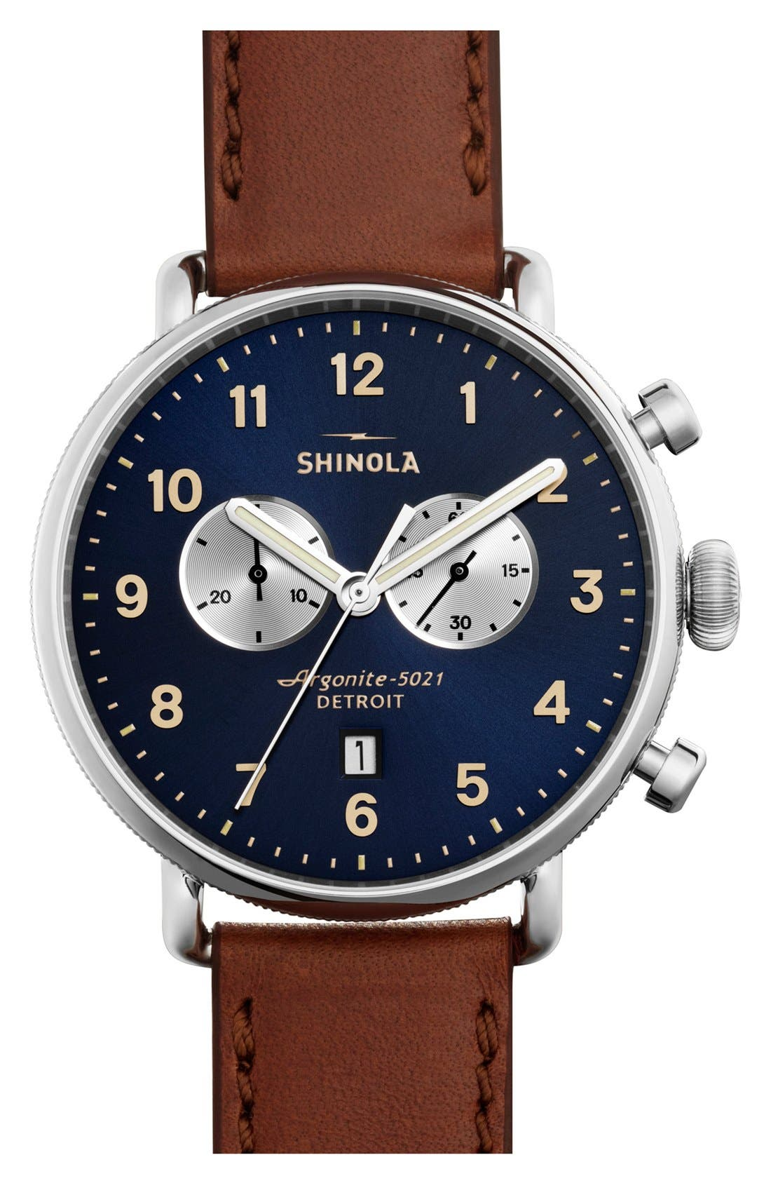 SHINOLA, The Canfield Chrono Leather Strap Watch, 43mm, Main thumbnail 1, color, DARK COGNAC/ MIDNIGHT BLUE