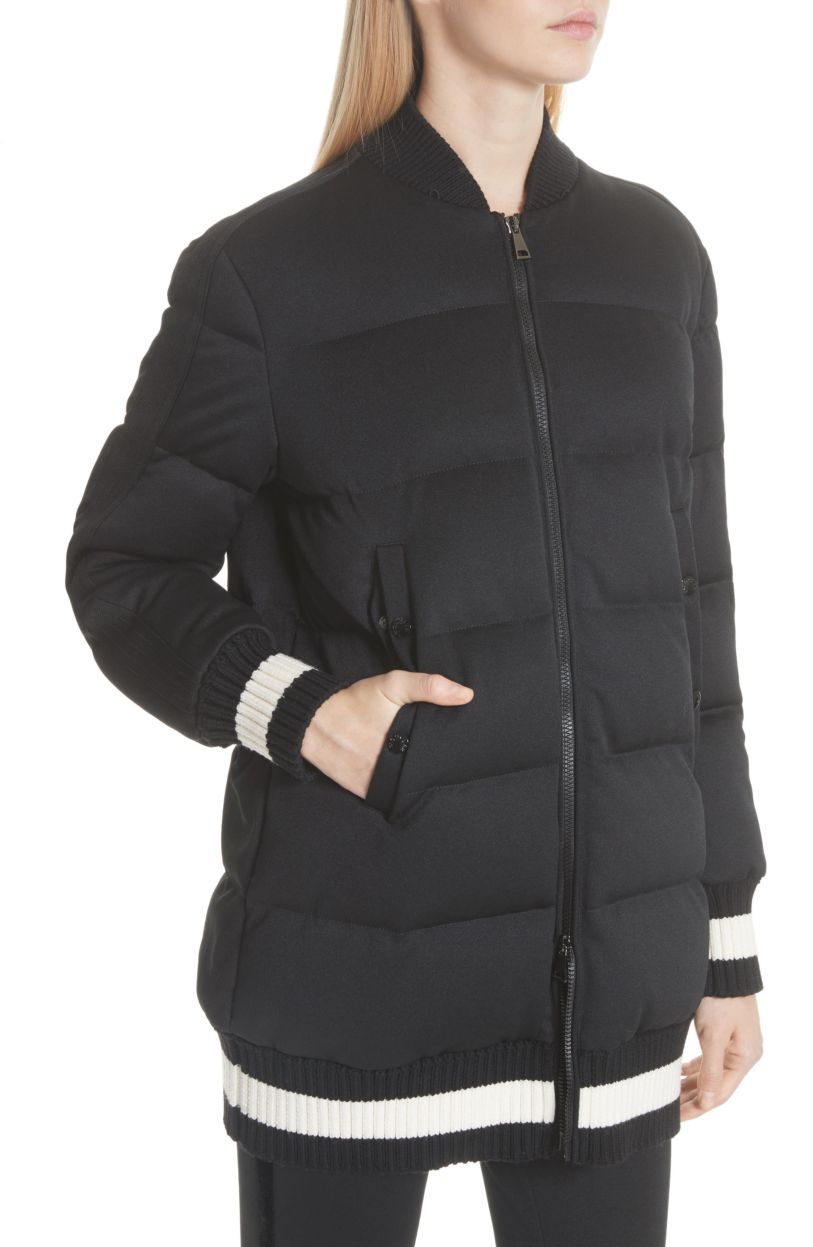 MONCLER, Harfang Quilted Down Bomber Coat, Alternate thumbnail 2, color, BLACK