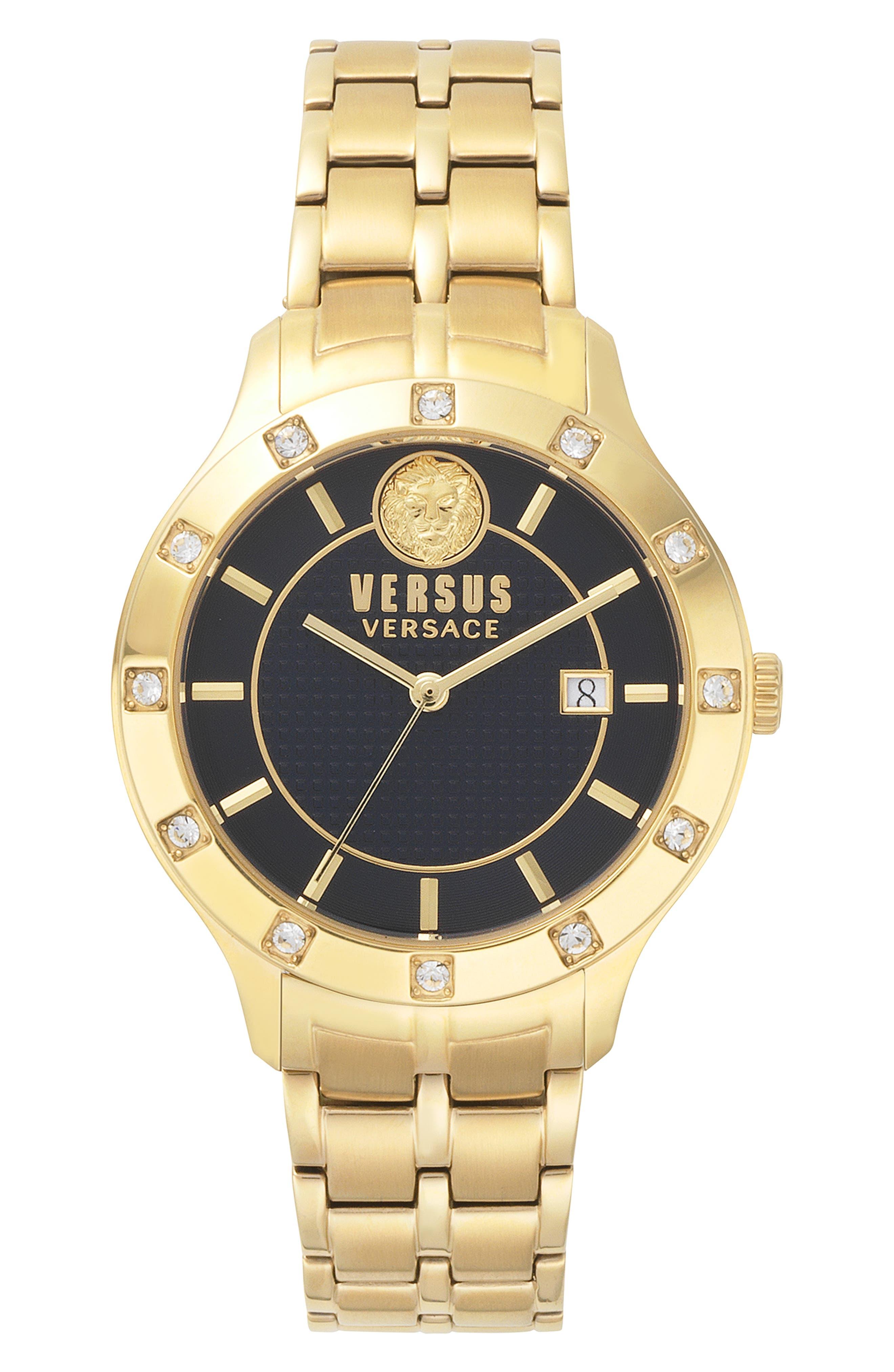 VERSUS VERSACE Brackenfell Swarovski Bracelet Watch, 38mm, Main, color, GOLD/ BLUE