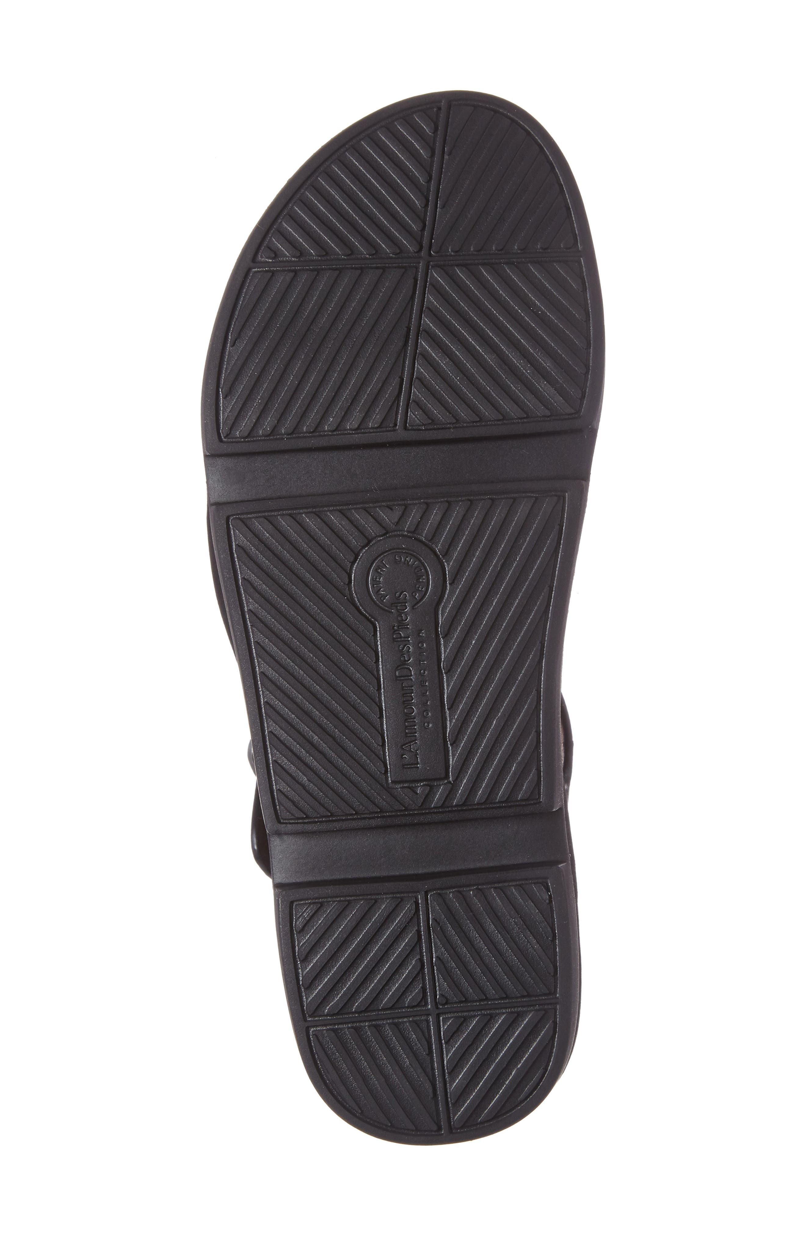 L'AMOUR DES PIEDS, Villefranche Sandal, Alternate thumbnail 4, color, BLACK NUBUCK