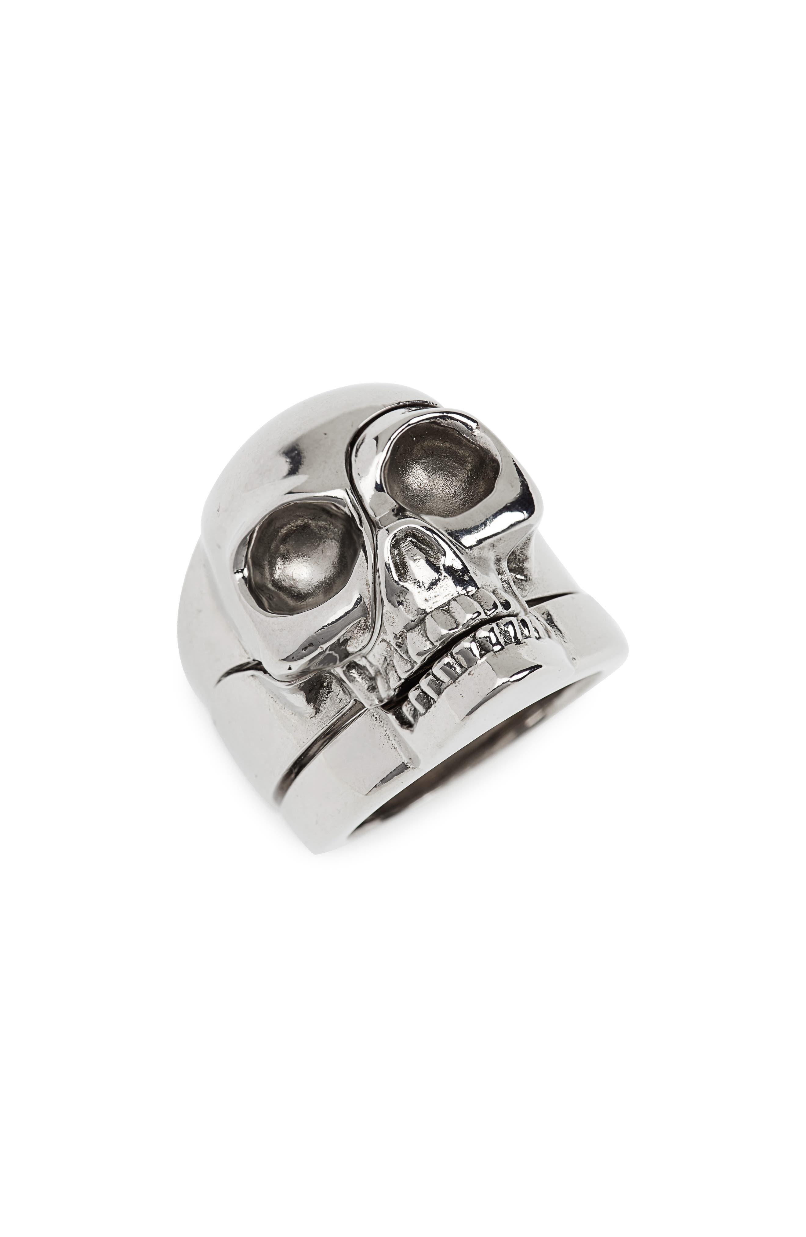 ALEXANDER MCQUEEN, Divided Skull Ring, Main thumbnail 1, color, 045