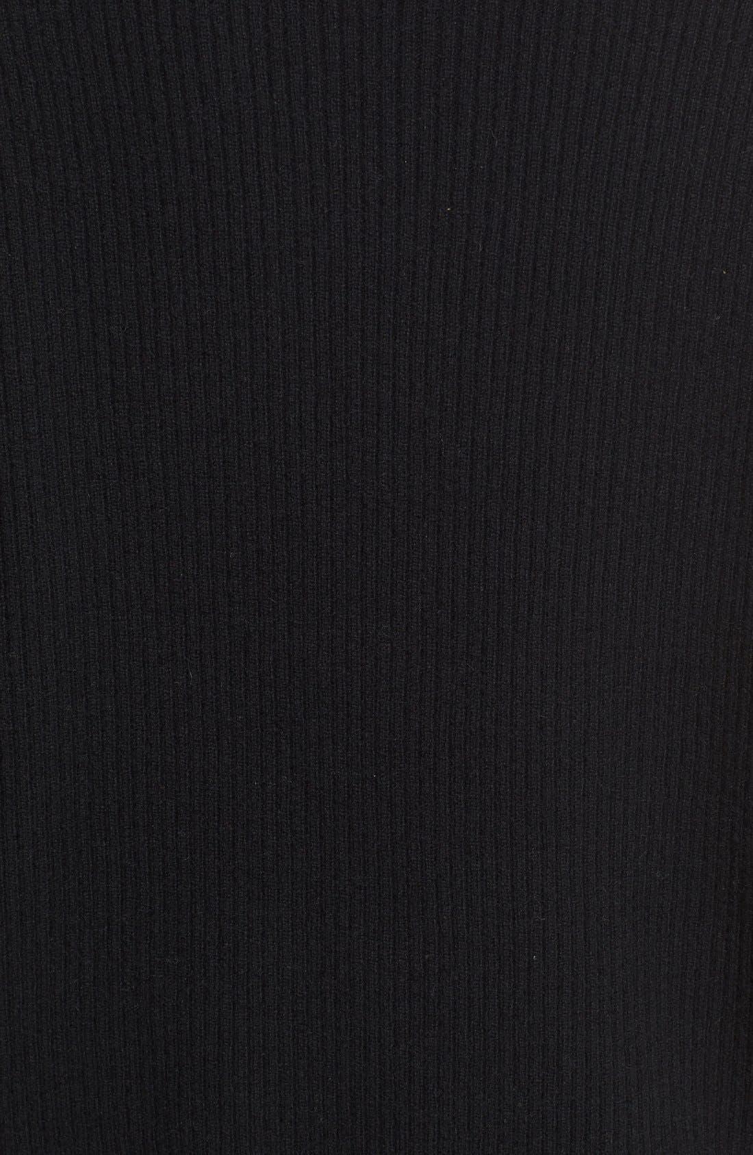 VINCE, Rib Knit Raglan Sleeve Cashmere Sweater, Alternate thumbnail 5, color, 001