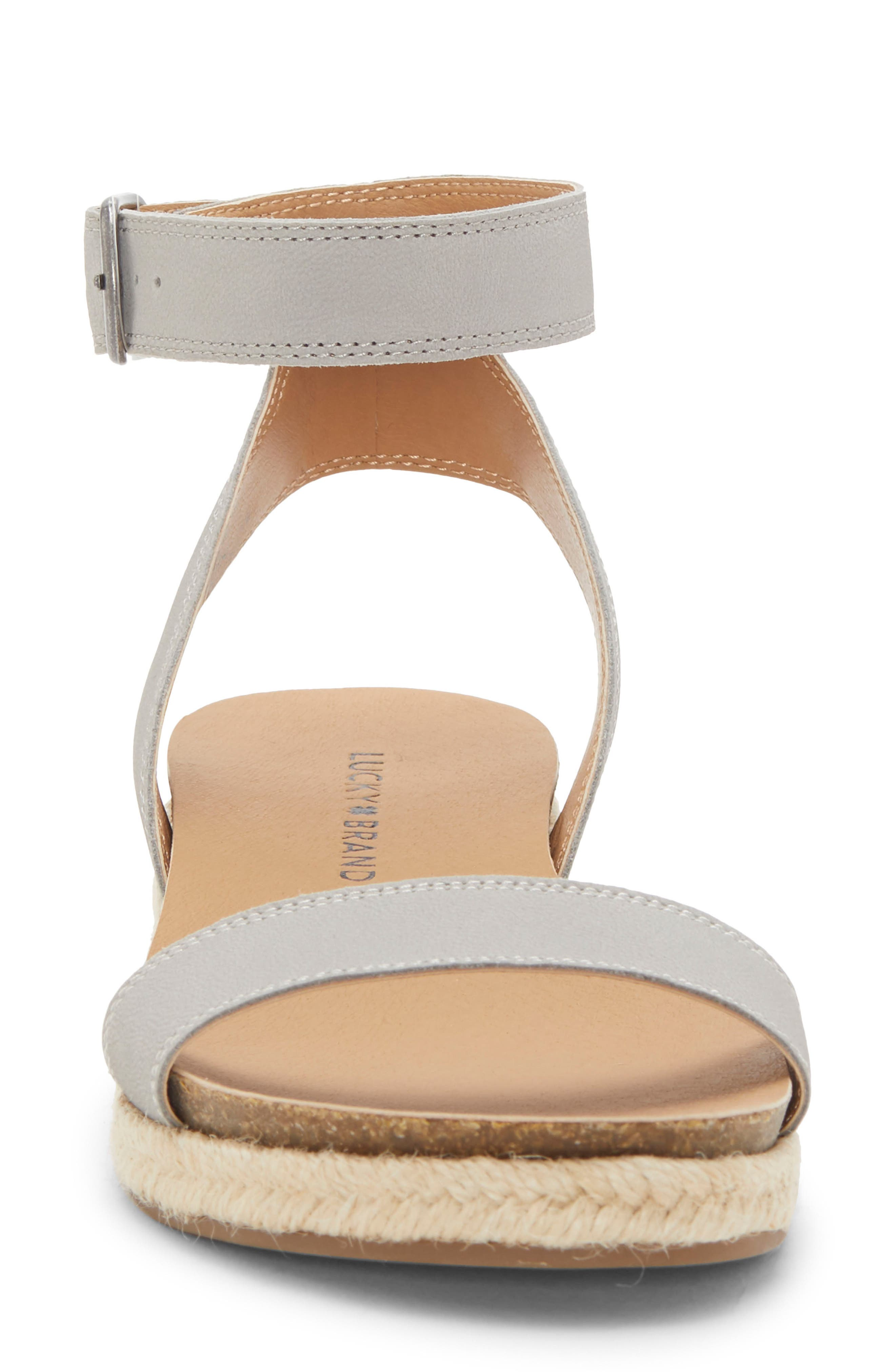 LUCKY BRAND, Garston Espadrille Sandal, Alternate thumbnail 4, color, CHINCHILLA LEATHER