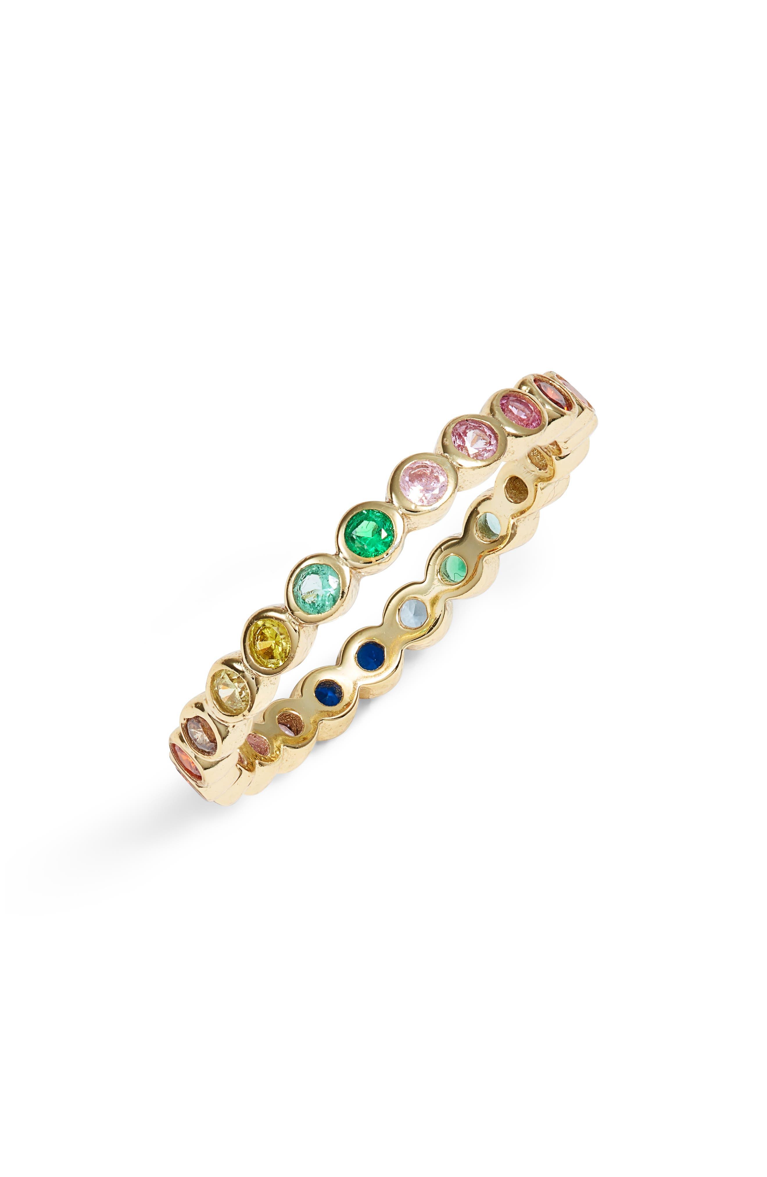 STELLA AND BOW, Indigo Cubic Zirconia Ring, Main thumbnail 1, color, GOLD