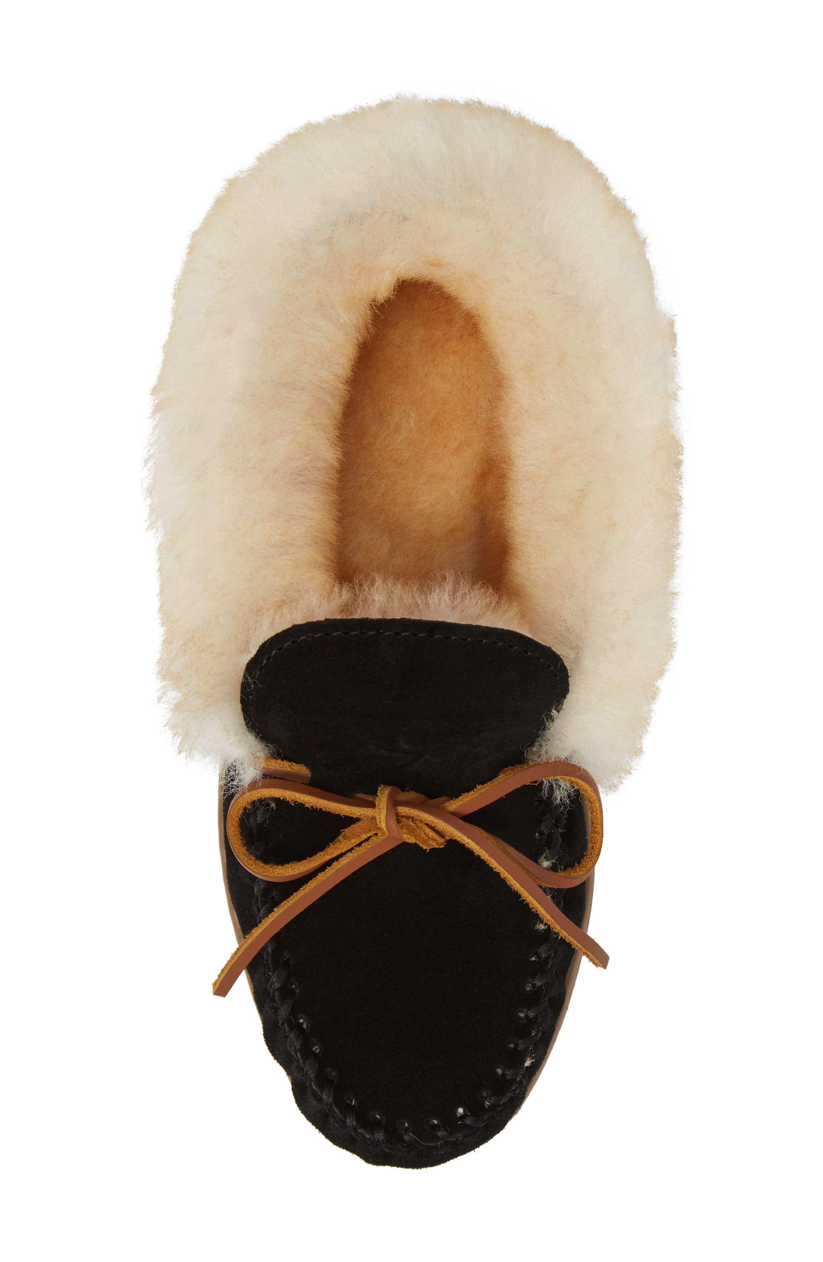 MINNETONKA, Alpine Genuine Shearling Slipper, Alternate thumbnail 5, color, BLACK