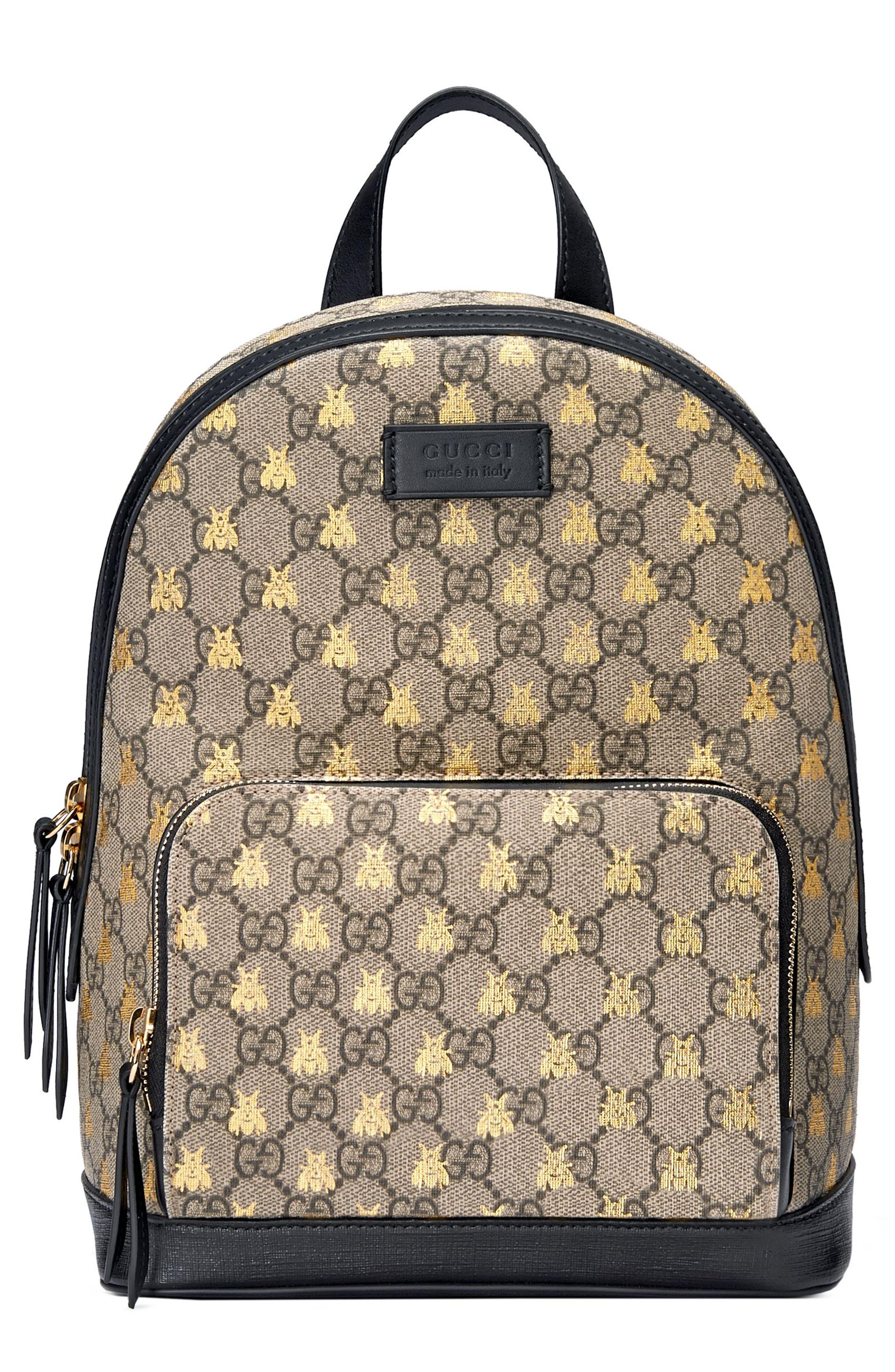 GUCCI, Bee GG Supreme Canvas Backpack, Main thumbnail 1, color, 250