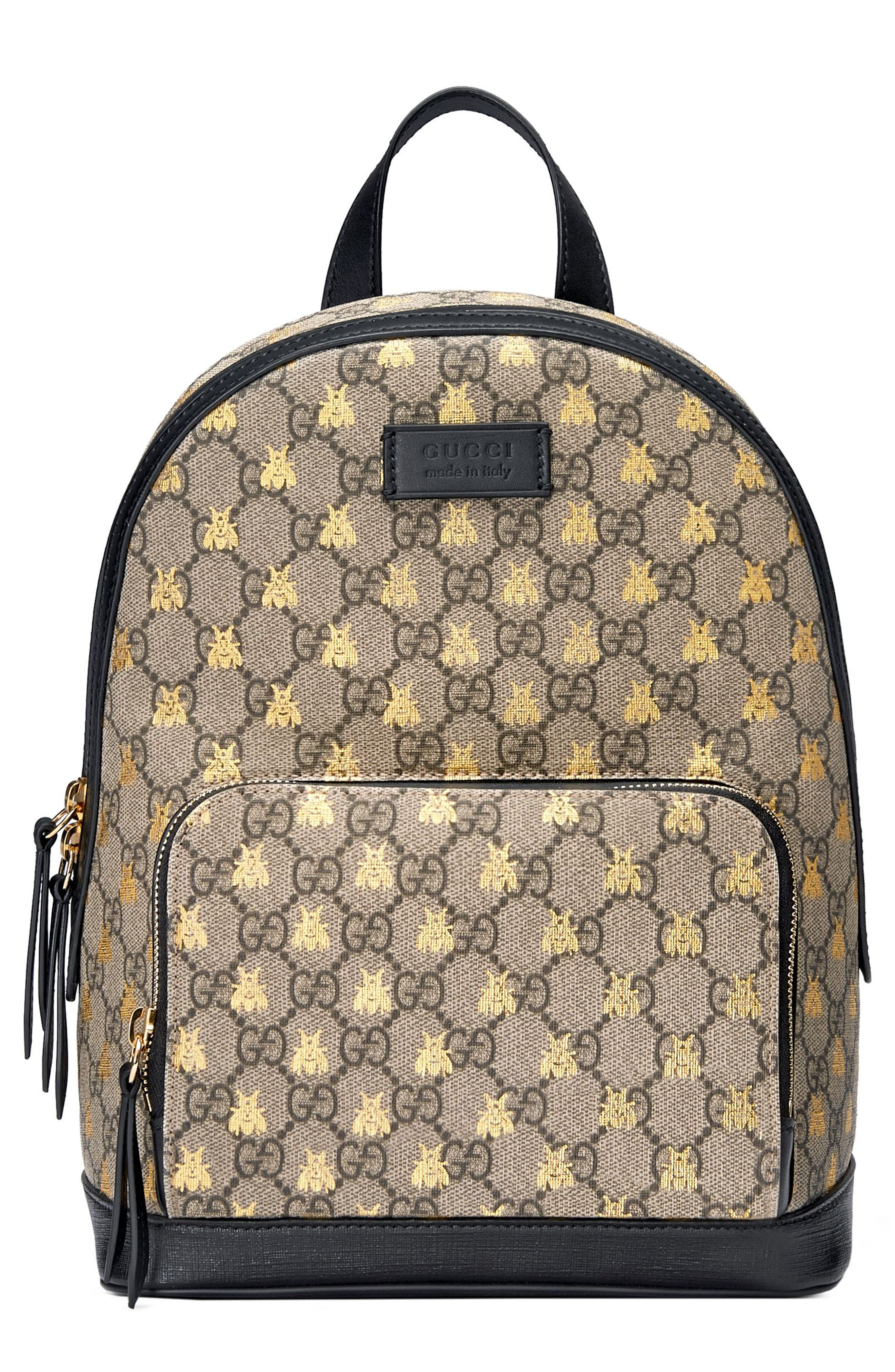 GUCCI Bee GG Supreme Canvas Backpack, Main, color, 250
