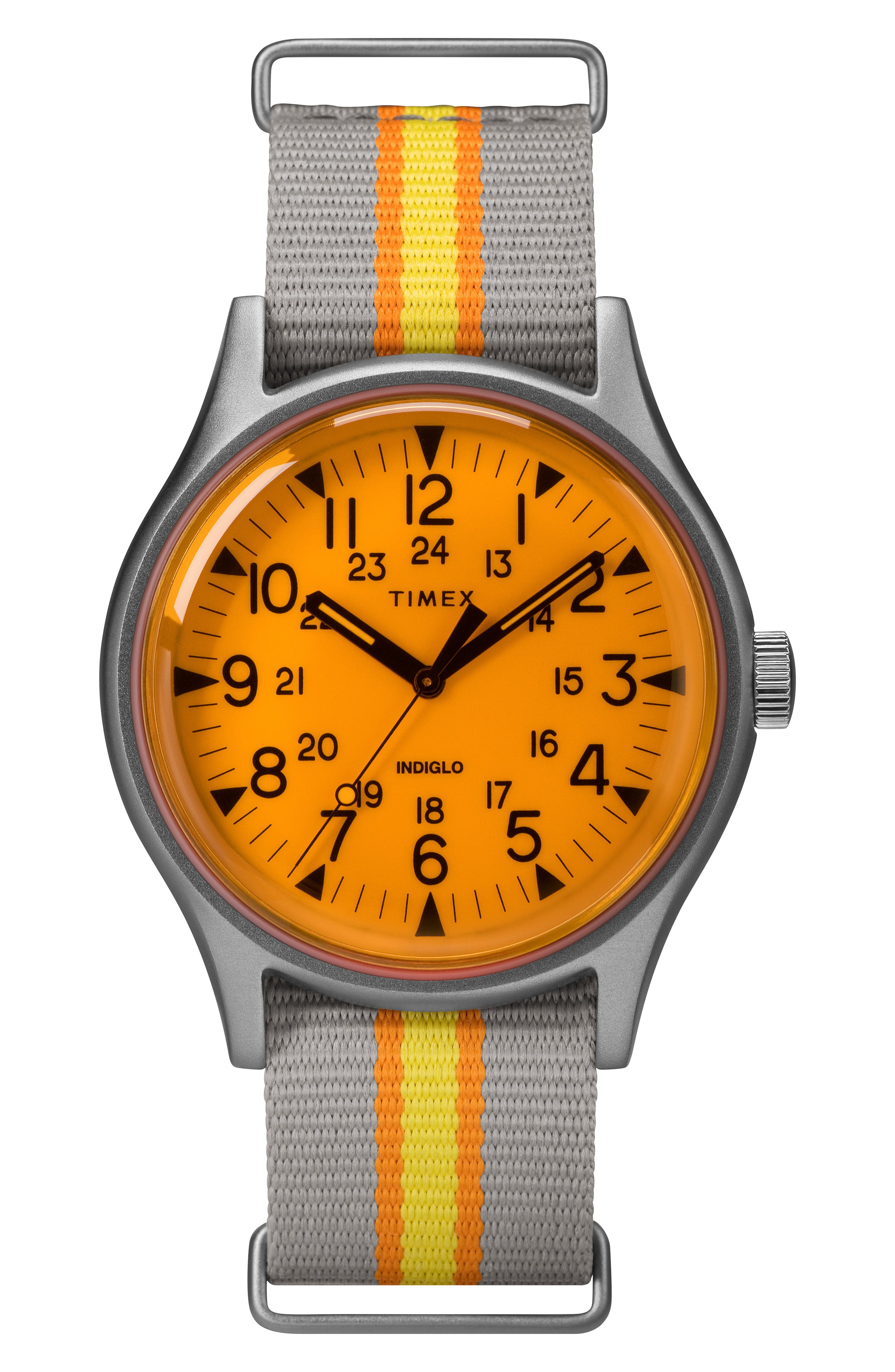 TIMEX<SUP>®</SUP> MK1 Nylon Strap Watch, 40mm, Main, color, GREY/ ORANGE/ GREY