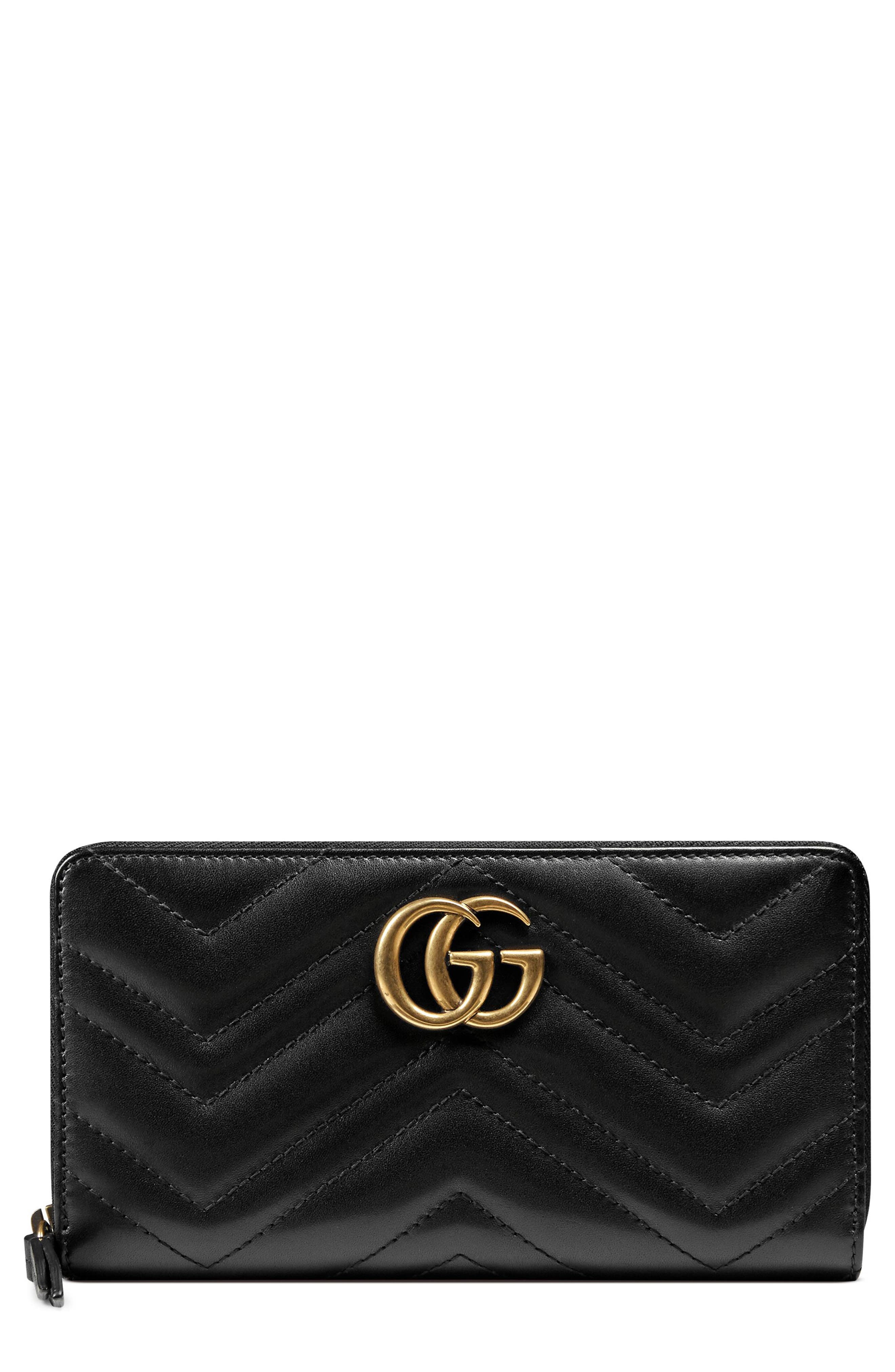 GUCCI, GG Marmont Matelassé Leather Zip-Around Wallet, Main thumbnail 1, color, NERO