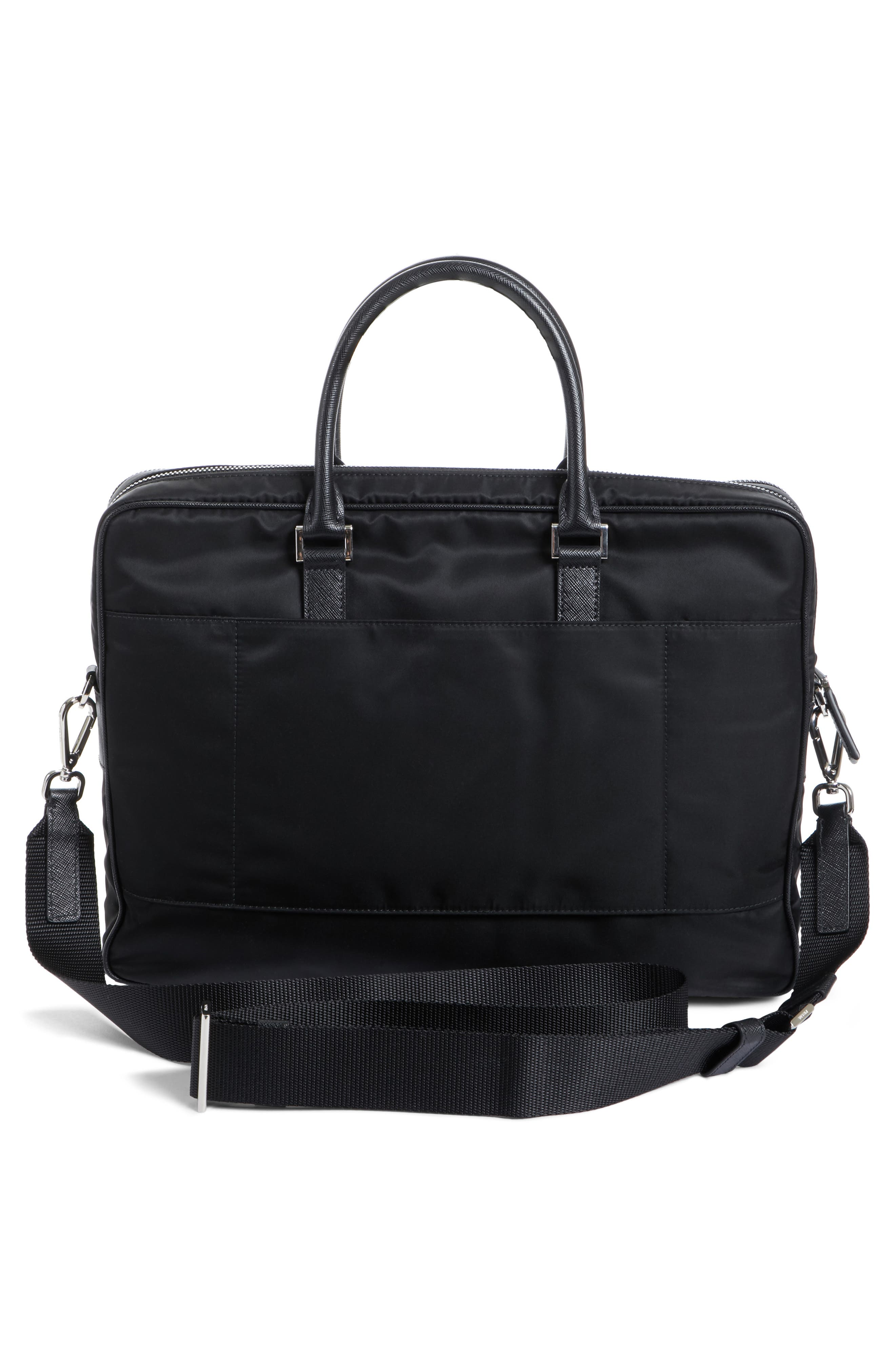 PRADA, Nylon Briefcase with Saffiano Leather Trim, Alternate thumbnail 3, color, 001