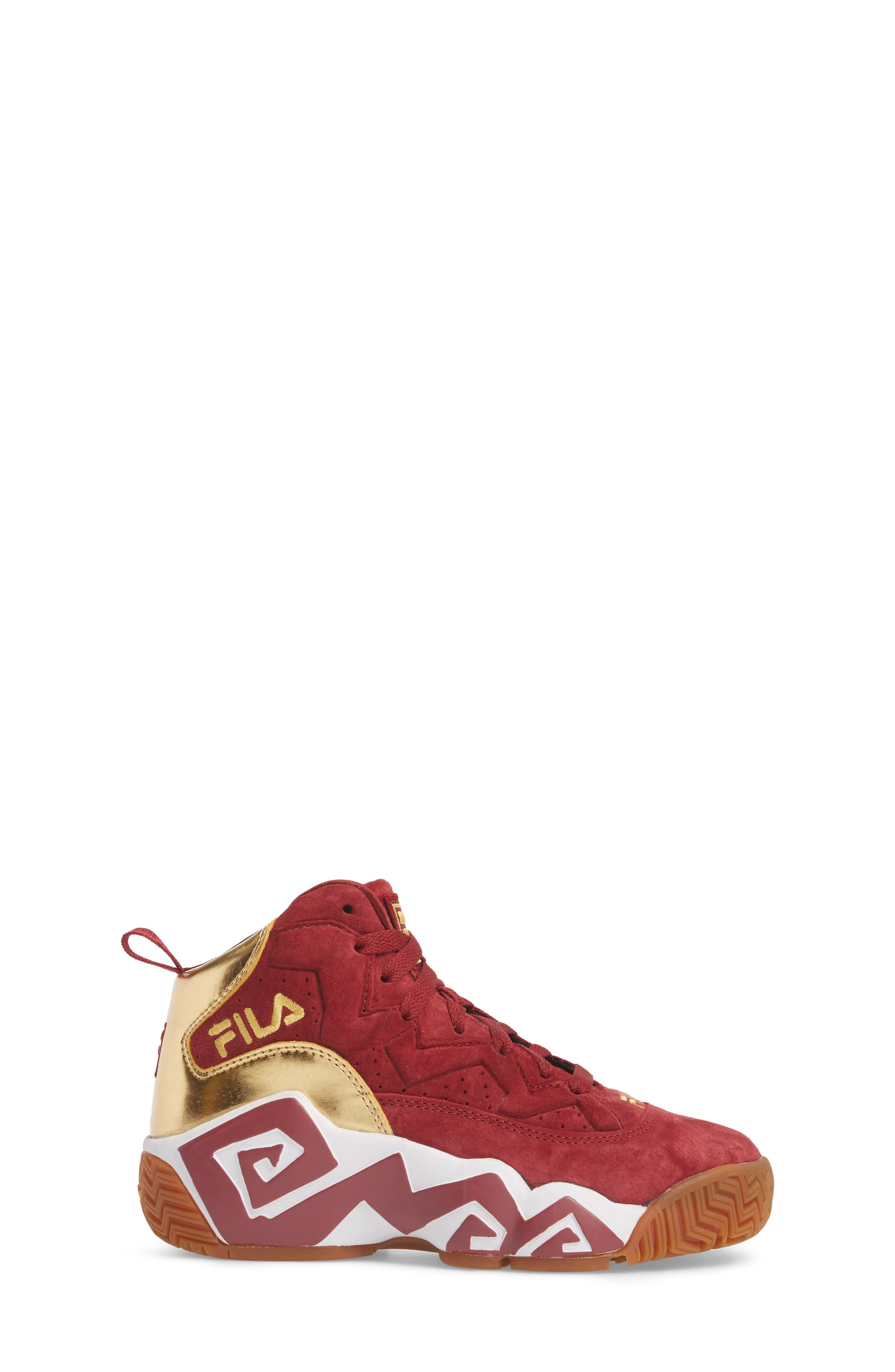 FILA, Heritage Sneaker, Alternate thumbnail 3, color, BIKING RED/ GOLD/ WHITE