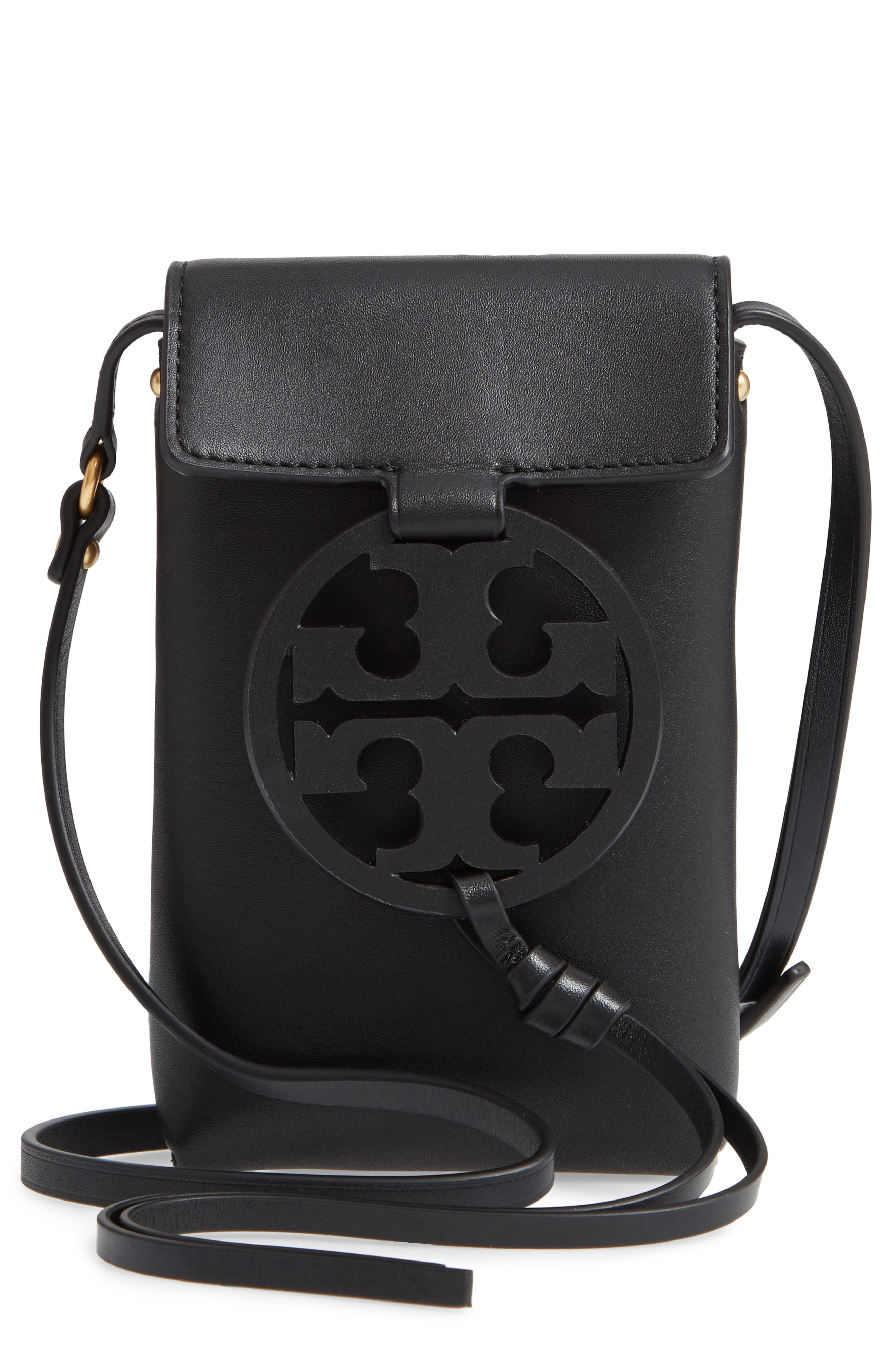 TORY BURCH Miller Leather Phone Crossbody Bag, Main, color, BLACK