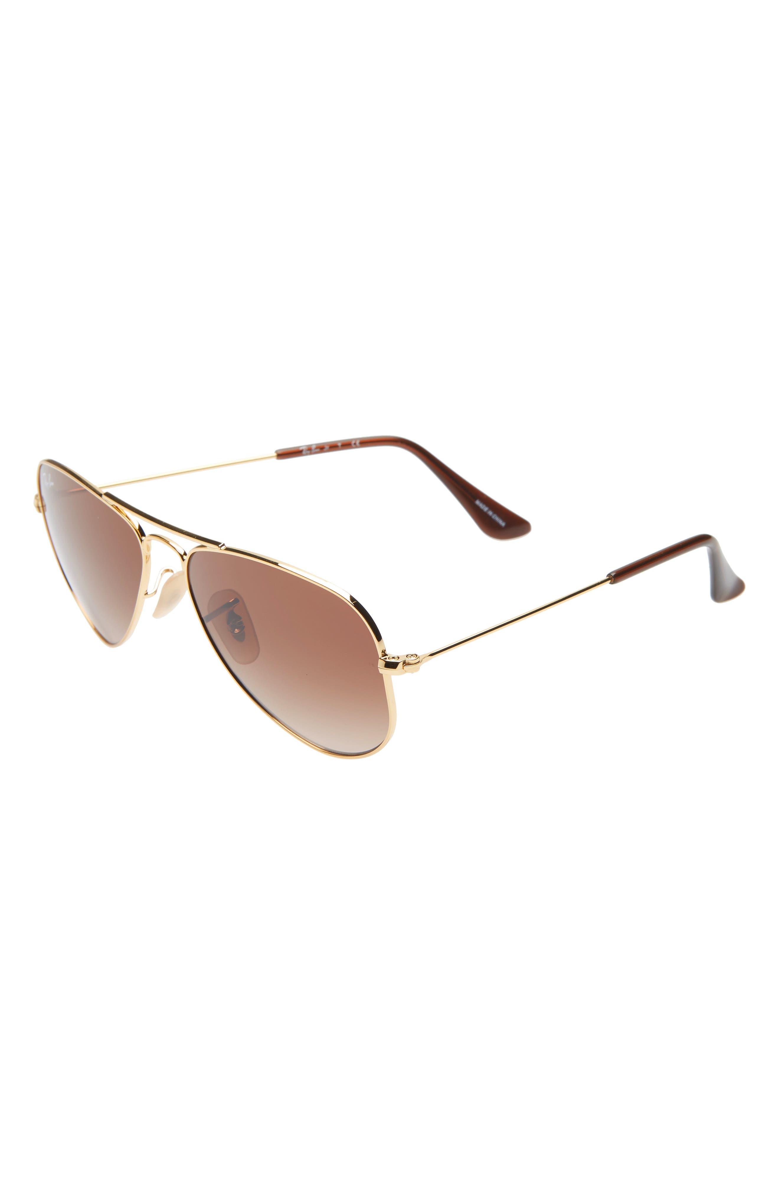RAY-BAN, Junior 52mm Aviator Sunglasses, Main thumbnail 1, color, GOLD/ BROWN GRADIENT