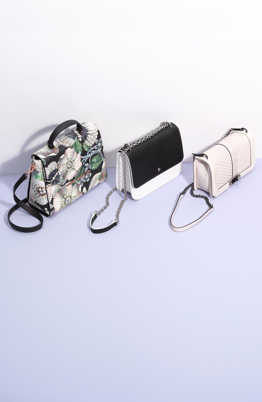 CHELSEA28, Dahlia Faux Leather Shoulder Bag, Alternate thumbnail 4, color, 001