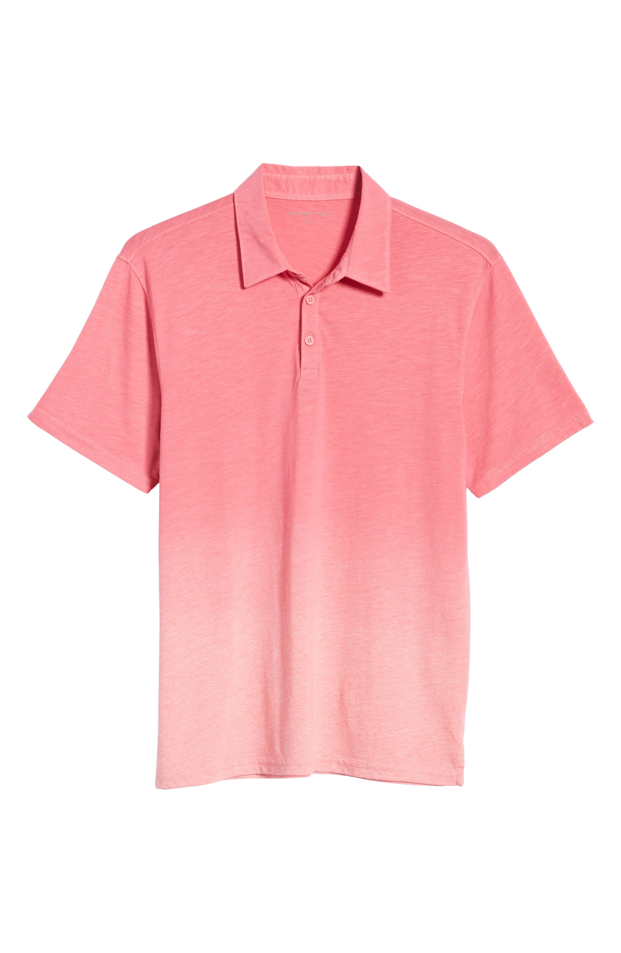 ZACHARY PRELL, Shelter Island Dip Dye Polo, Alternate thumbnail 6, color, BRIGHT PINK