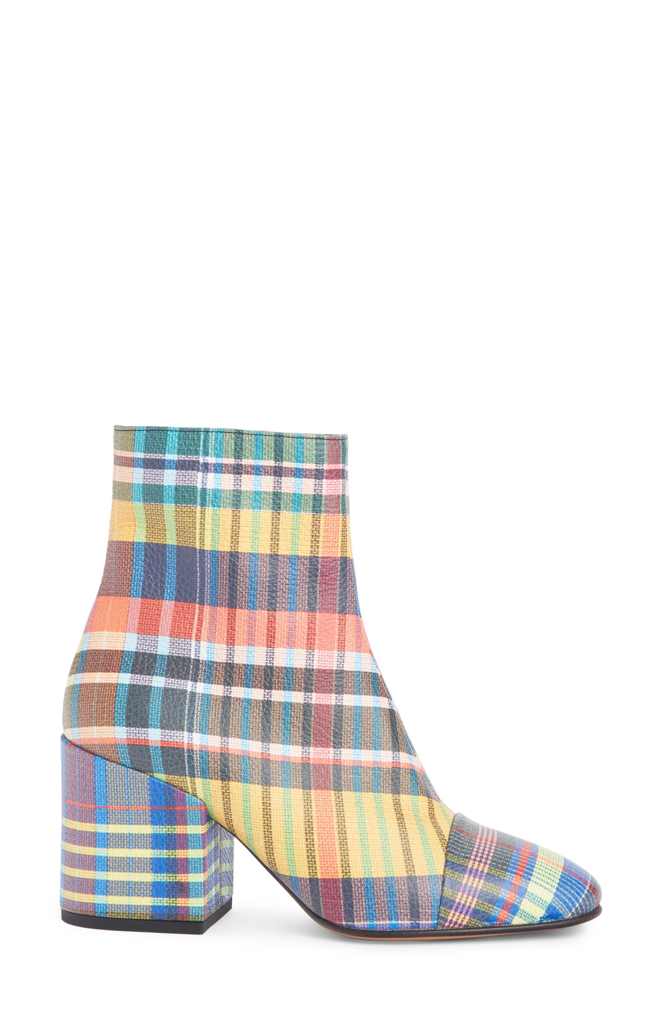 DRIES VAN NOTEN, Waterproof Block Heel Bootie, Alternate thumbnail 3, color, PLAID MULTI