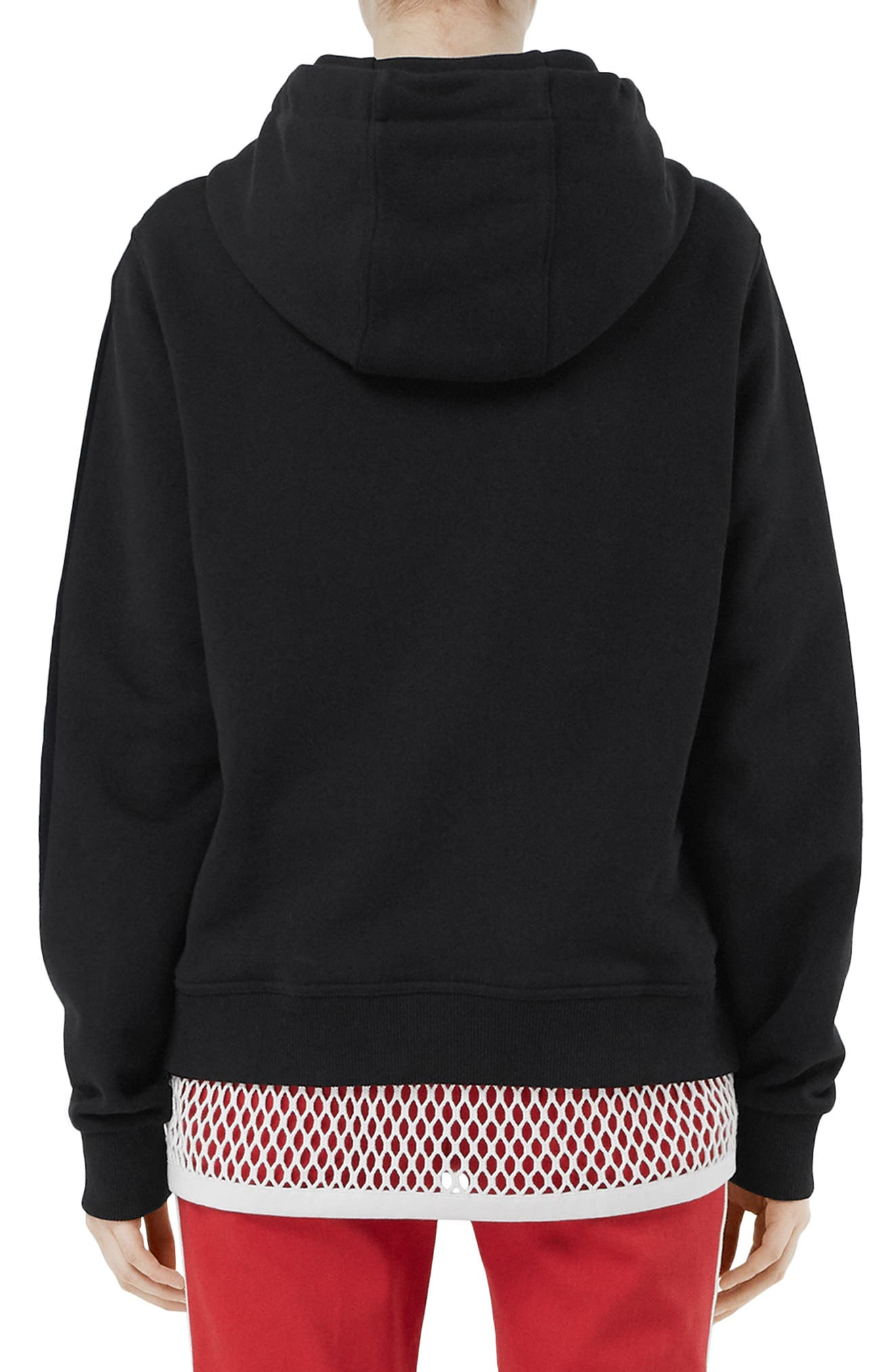 BURBERRY, Poulter Logo Print Hoodie, Alternate thumbnail 2, color, BLACK