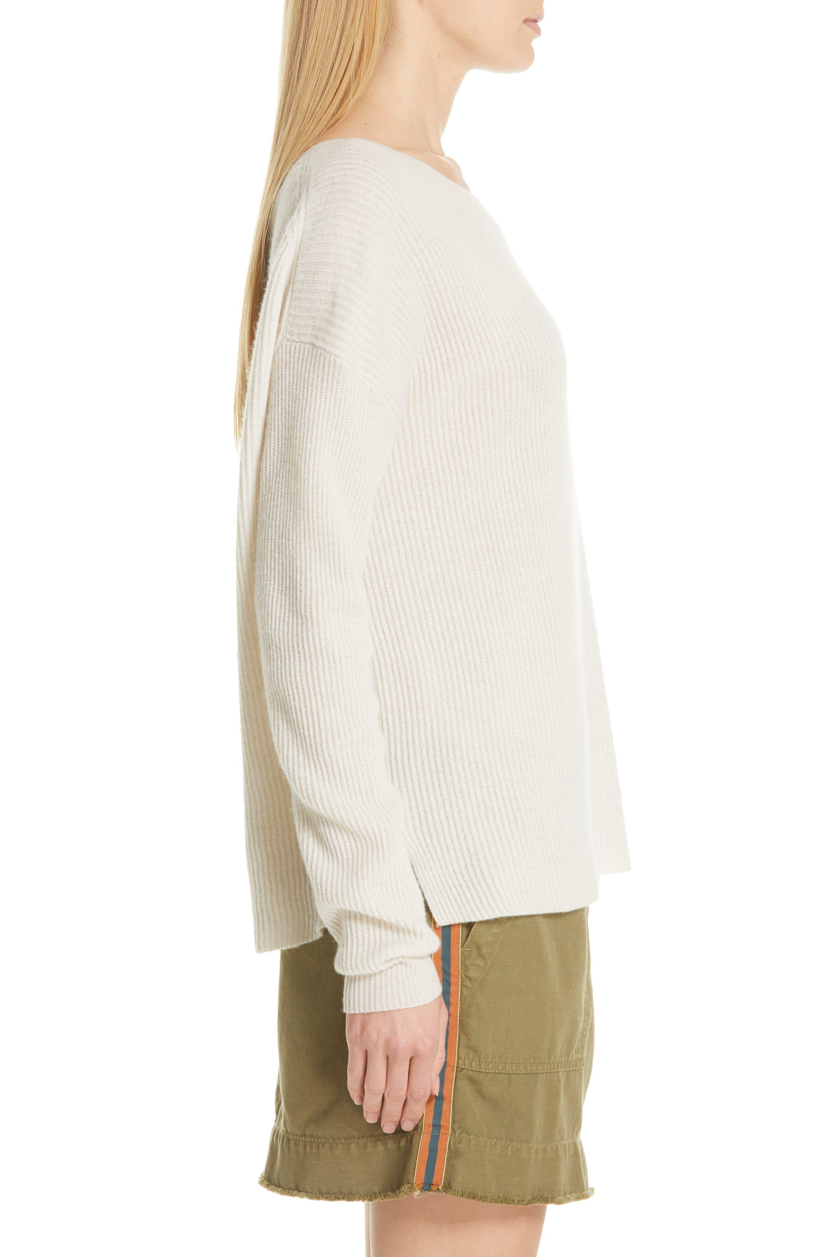 NILI LOTAN, Hadis Cashmere Sweater, Alternate thumbnail 3, color, IVORY