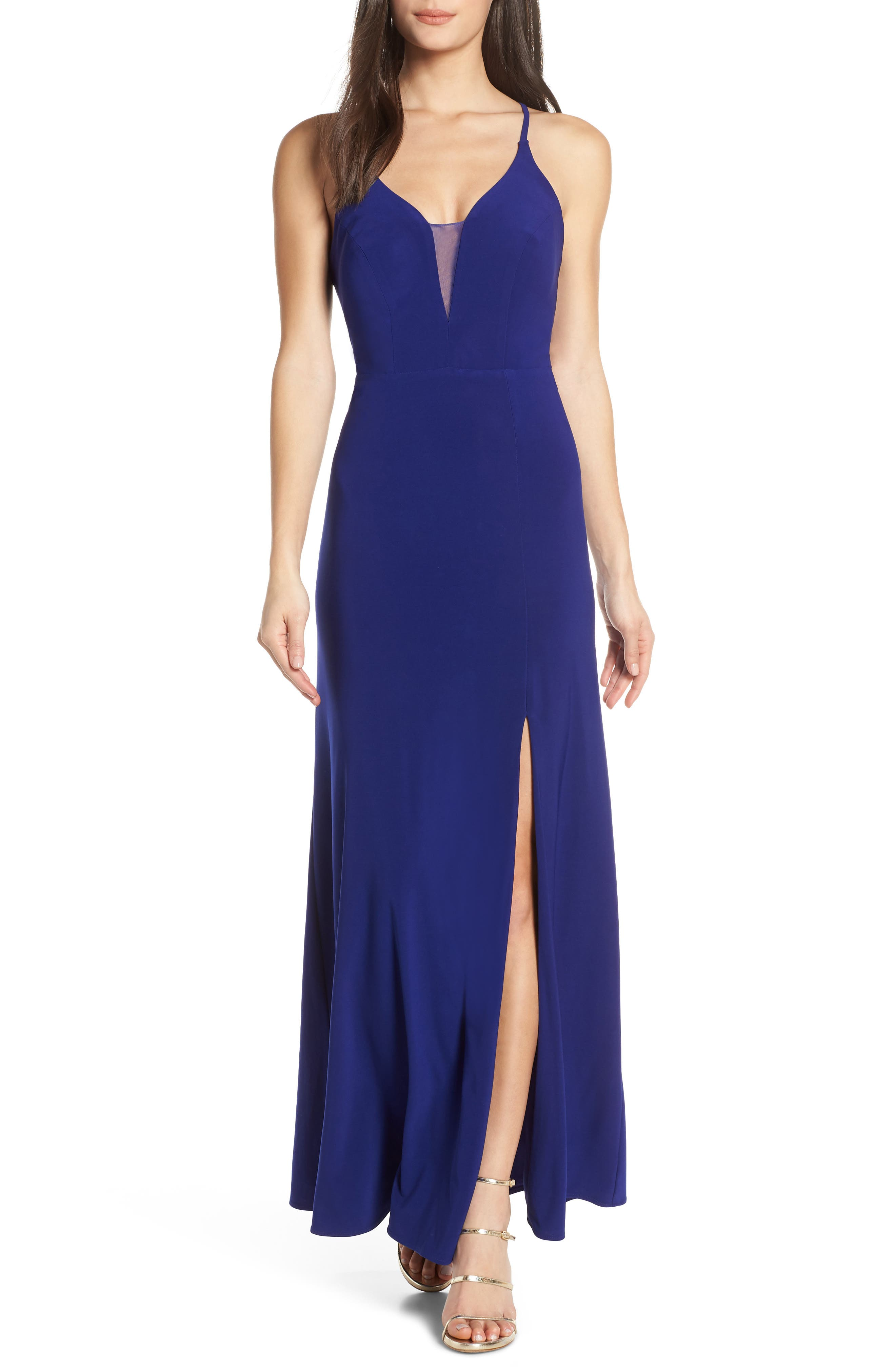 Morgan & Co. Lace-Up Back Evening Dress, Blue
