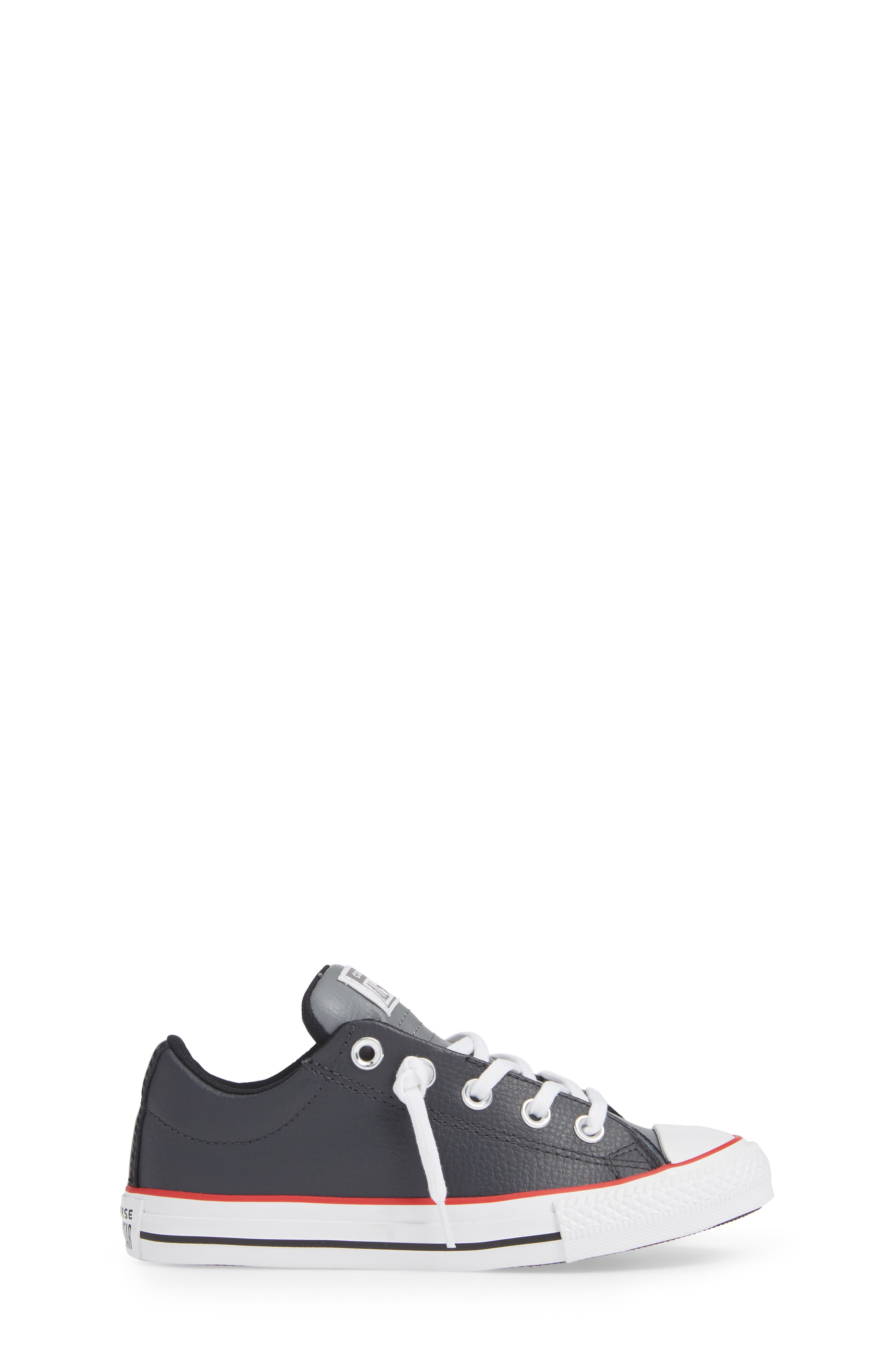 CONVERSE, Chuck Taylor<sup>®</sup> All Star<sup>®</sup> Collegiate Street Leather Slip-On Sneaker, Alternate thumbnail 3, color, ALMOST BLACK