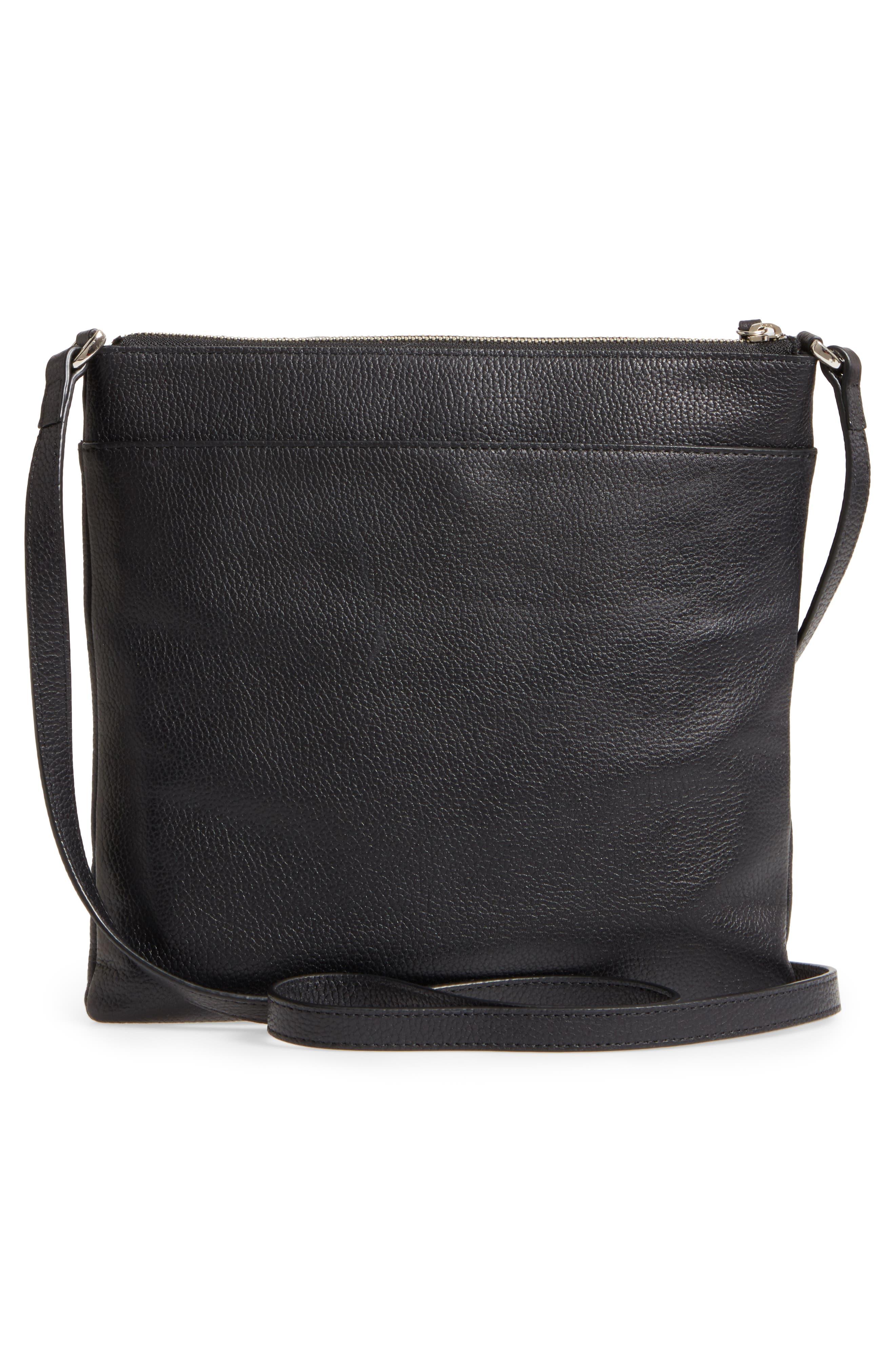 NORDSTROM, Finn Leather Crossbody Bag, Alternate thumbnail 4, color, BLACK