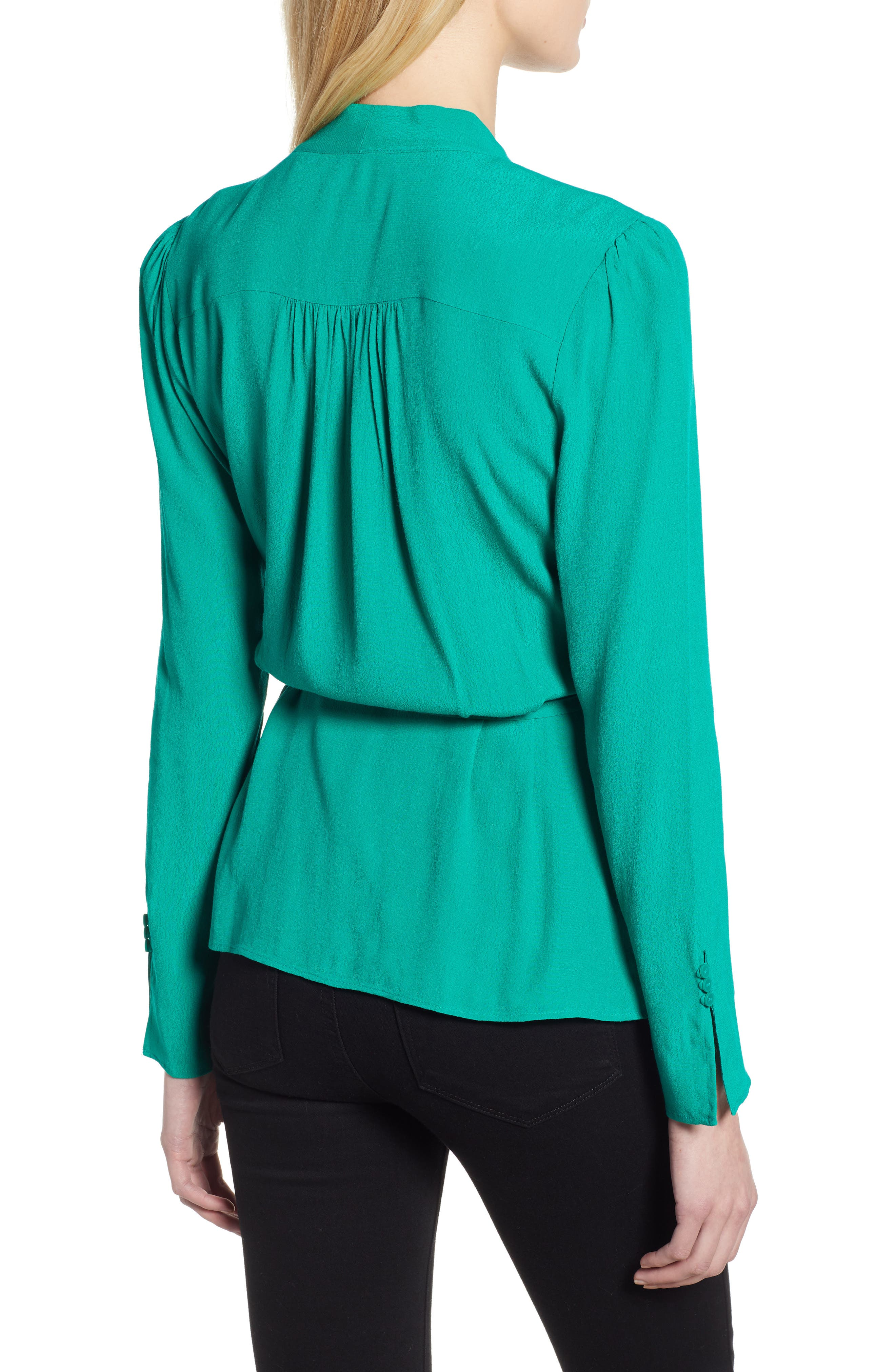 CHELSEA28, Tie Waist Wrap Top, Alternate thumbnail 2, color, GREEN PARAKEET