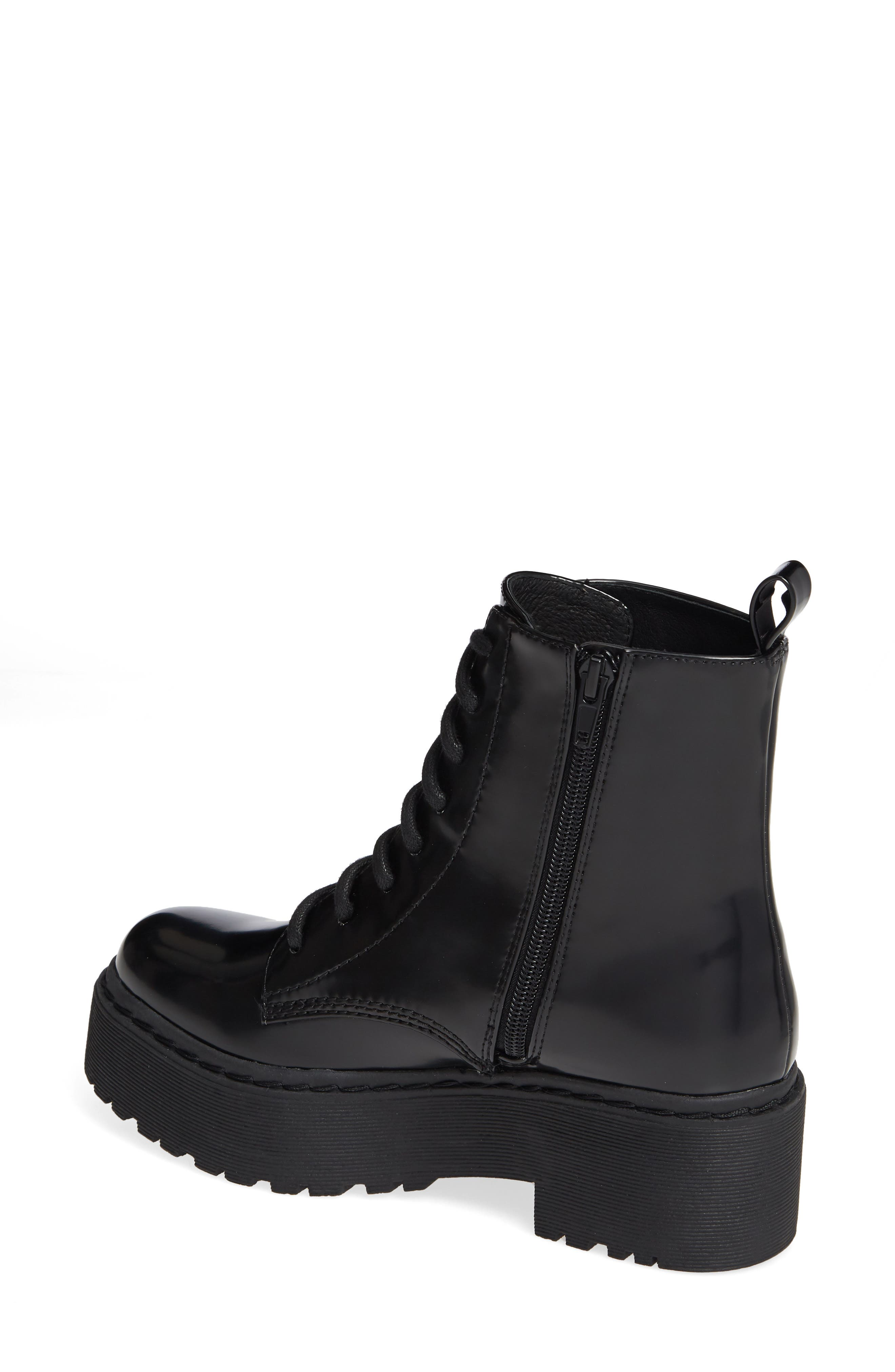 JEFFREY CAMPBELL, District Combat Boot, Alternate thumbnail 2, color, BLACK LEATHER