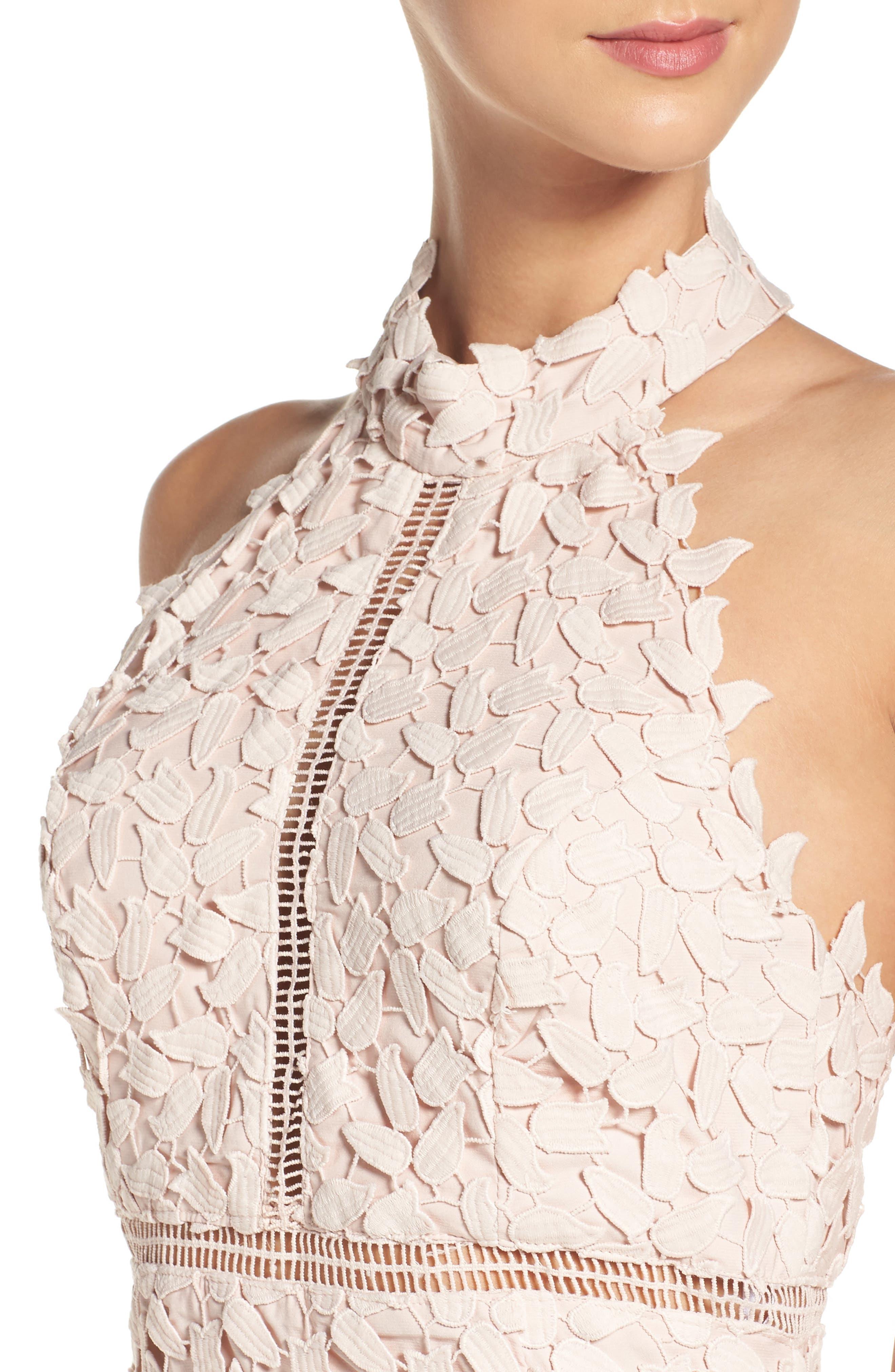 BARDOT, Gemma Halter Lace Sheath Dress, Alternate thumbnail 5, color, PROSECCO