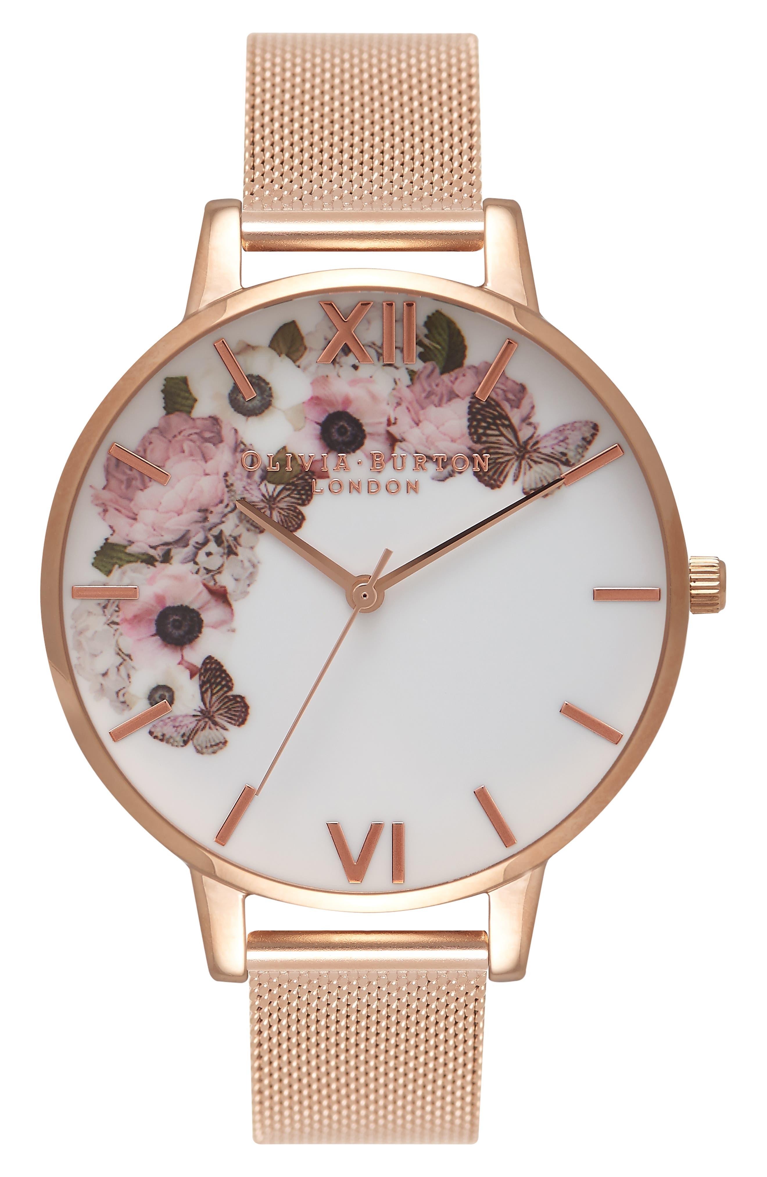 OLIVIA BURTON, Signature Florals Mesh Bracelet Watch, 38mm, Main thumbnail 1, color, ROSE GOLD/ ROSE GOLD/ WHITE