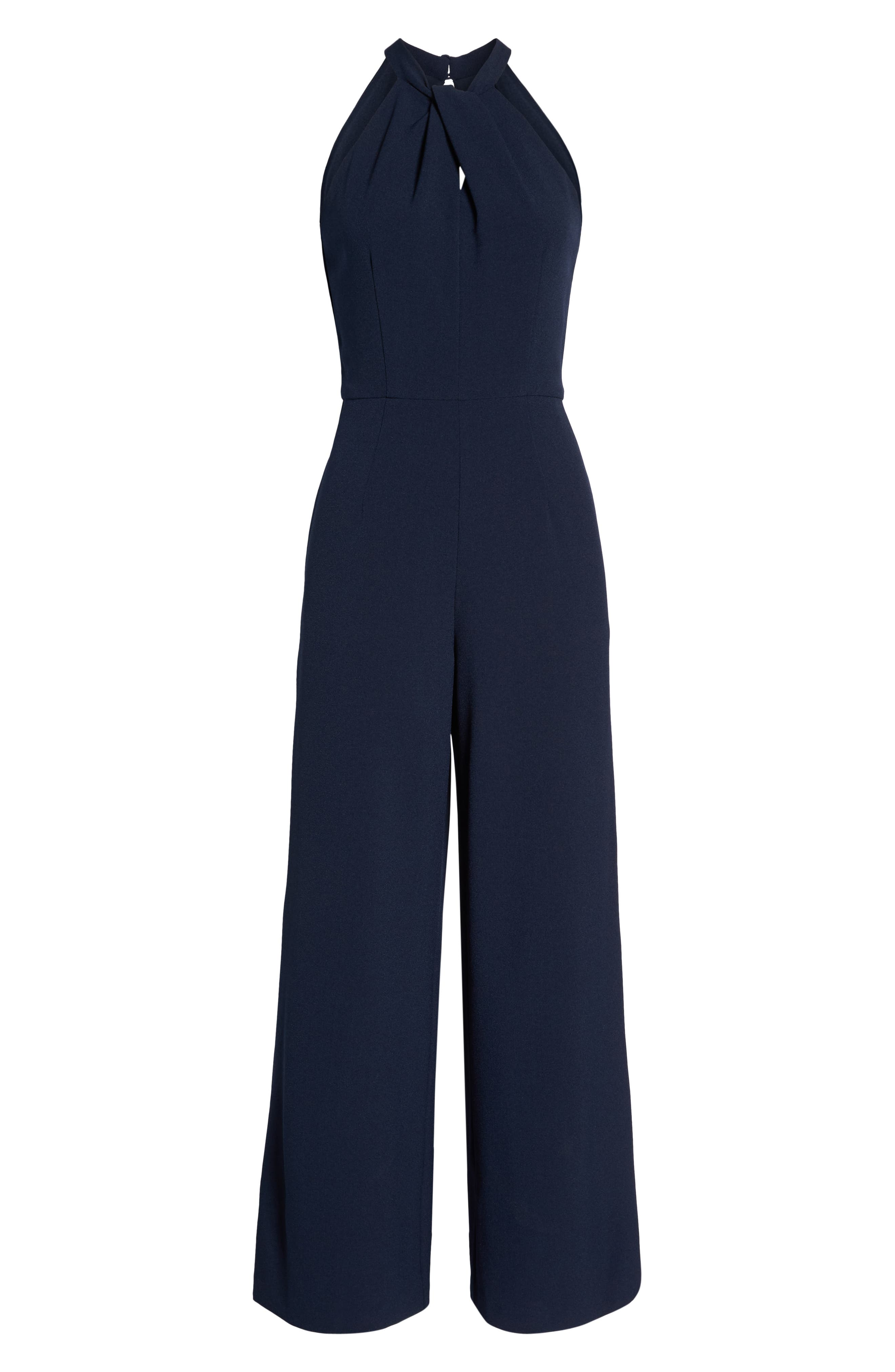 JULIA JORDAN, Halter Wide Leg Jumpsuit, Alternate thumbnail 6, color, NAVY