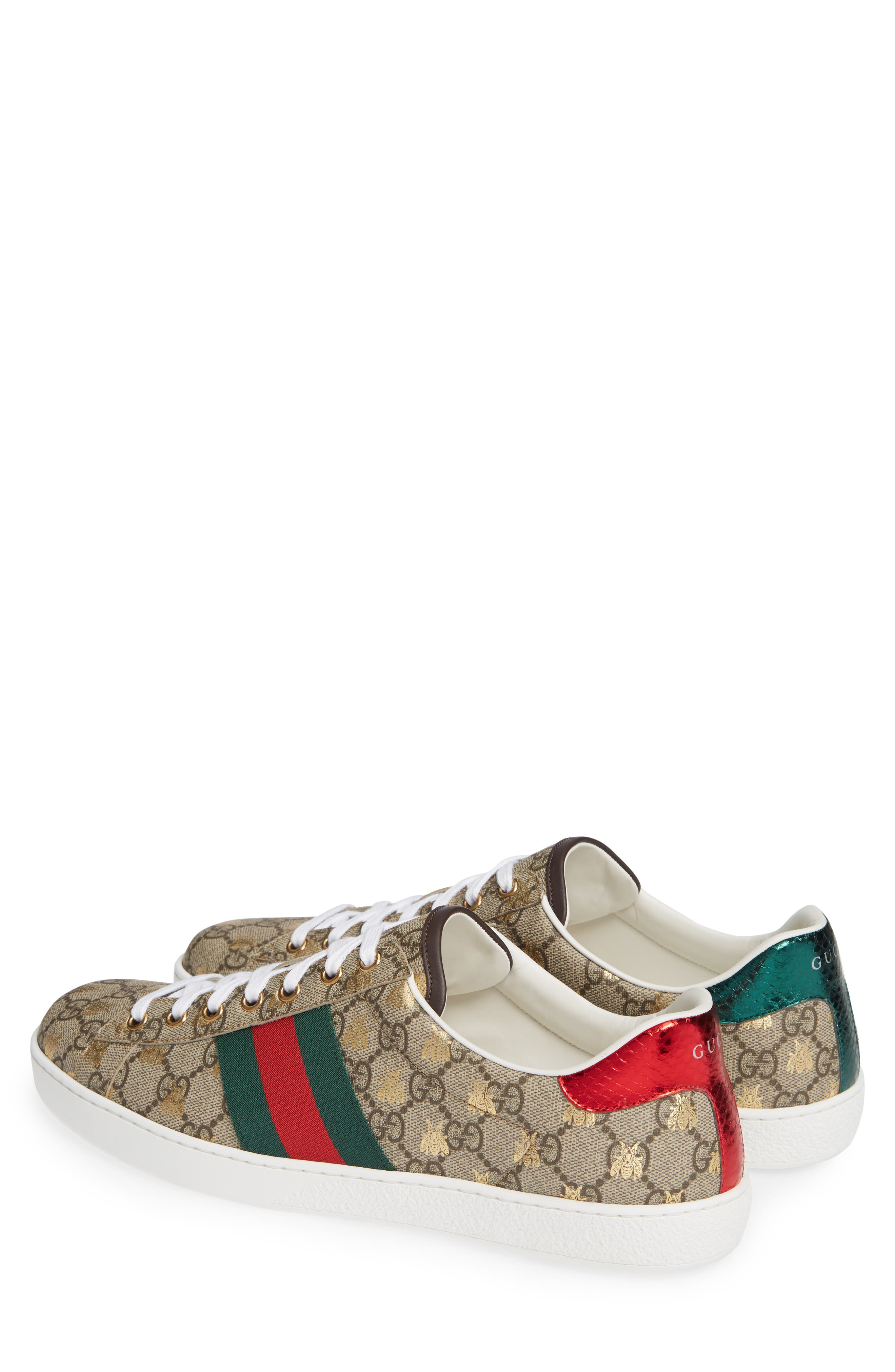 GUCCI, New Ace GG Supreme Sneaker, Alternate thumbnail 2, color, BEIGE/ GOLD