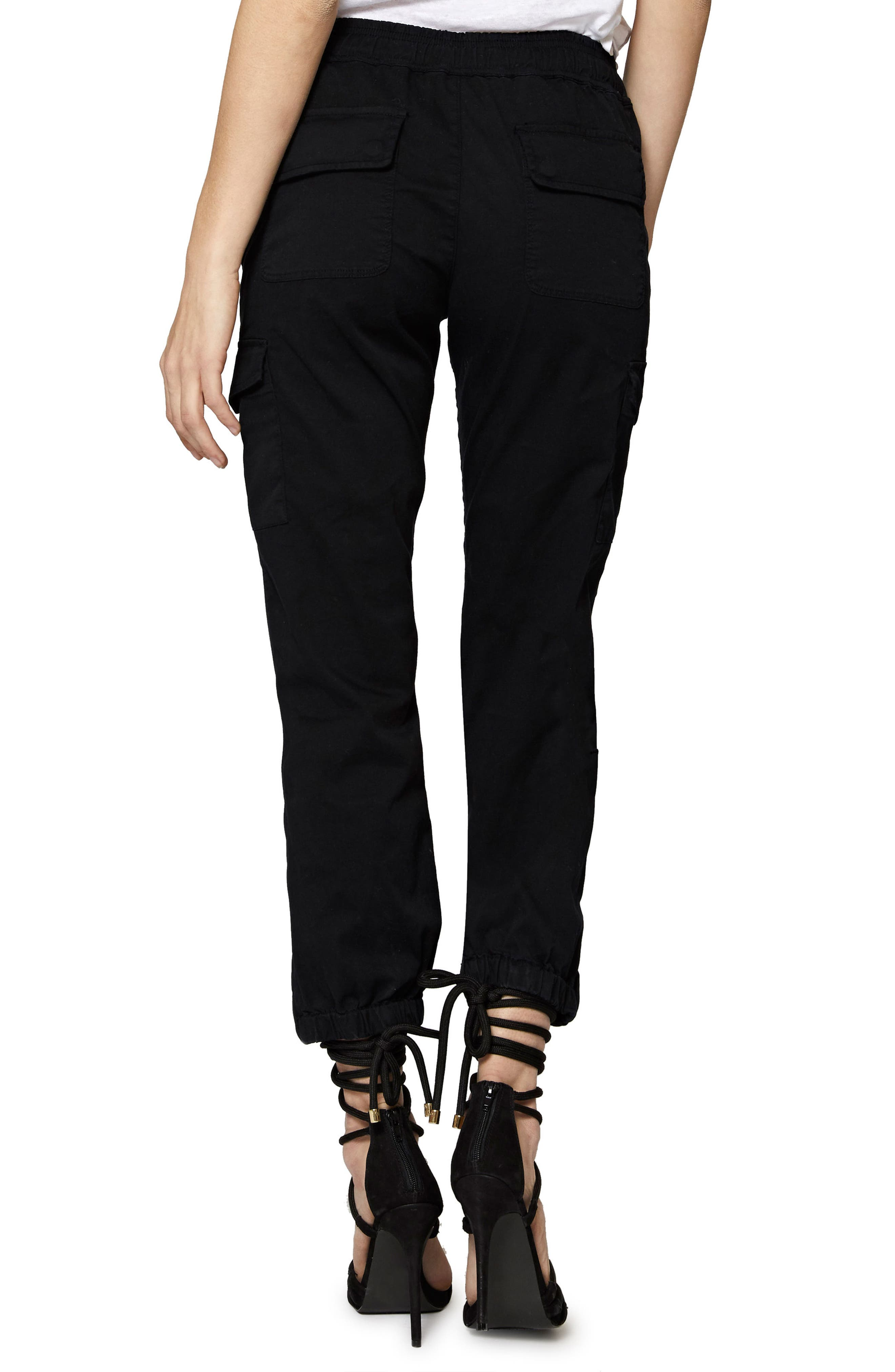 SANCTUARY, Drawstring Trooper Pants, Alternate thumbnail 2, color, BLACK