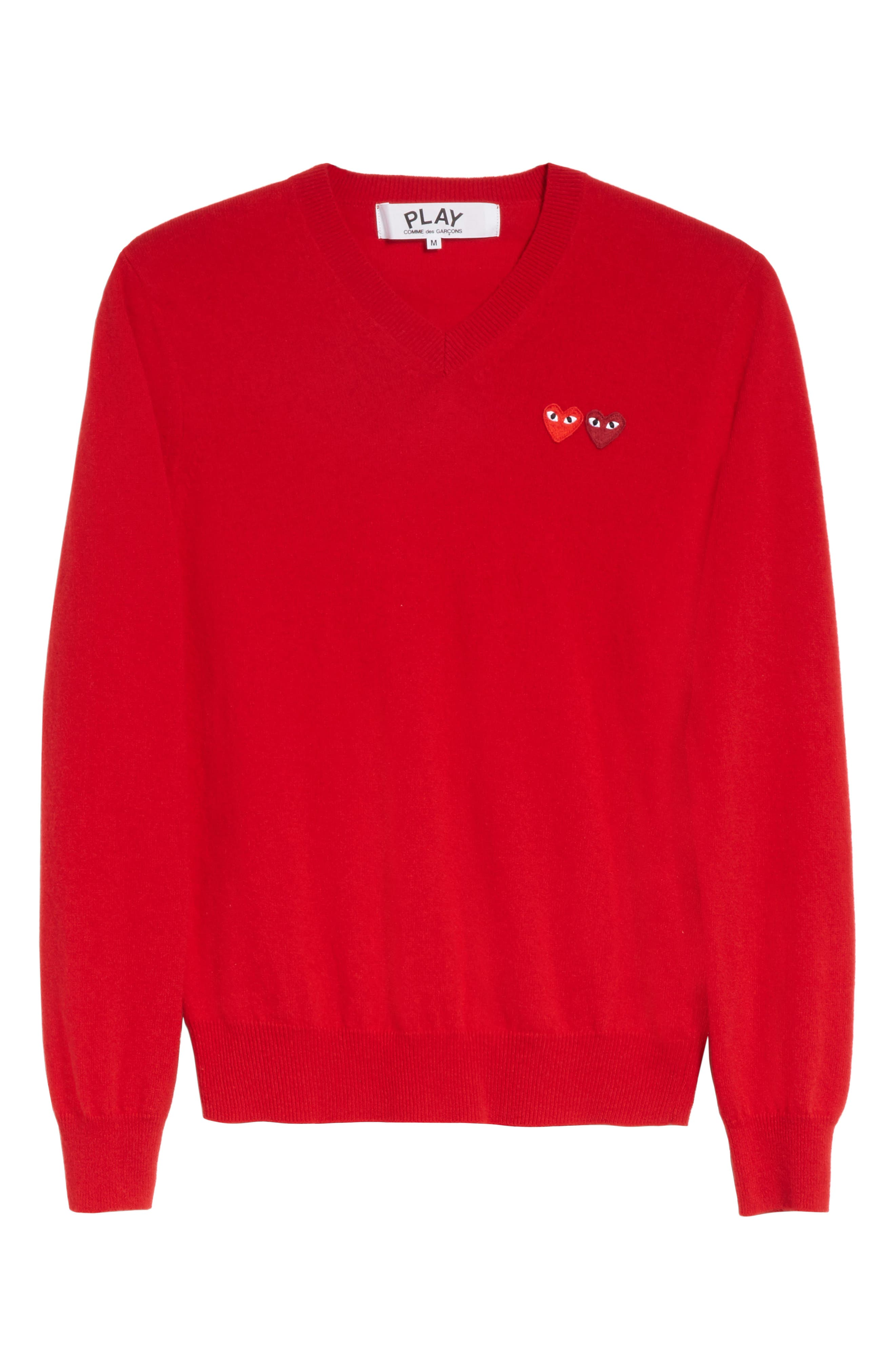 COMME DES GARÇONS PLAY, Wool Pullover, Alternate thumbnail 6, color, RED