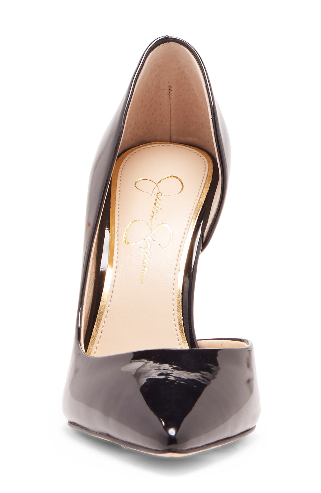 JESSICA SIMPSON, Prizma Half-d'Orsay Pump, Alternate thumbnail 4, color, BLACK