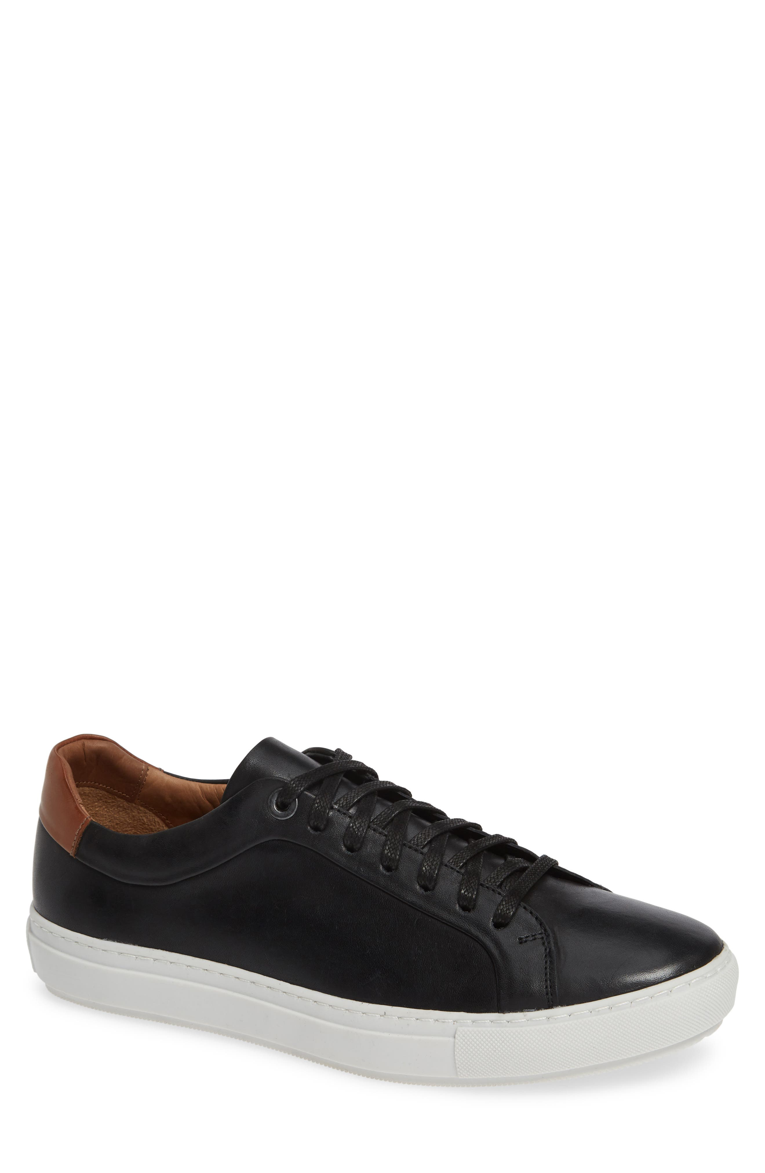 NORDSTROM MEN'S SHOP, Zack Sneaker, Main thumbnail 1, color, BLACK LEATHER