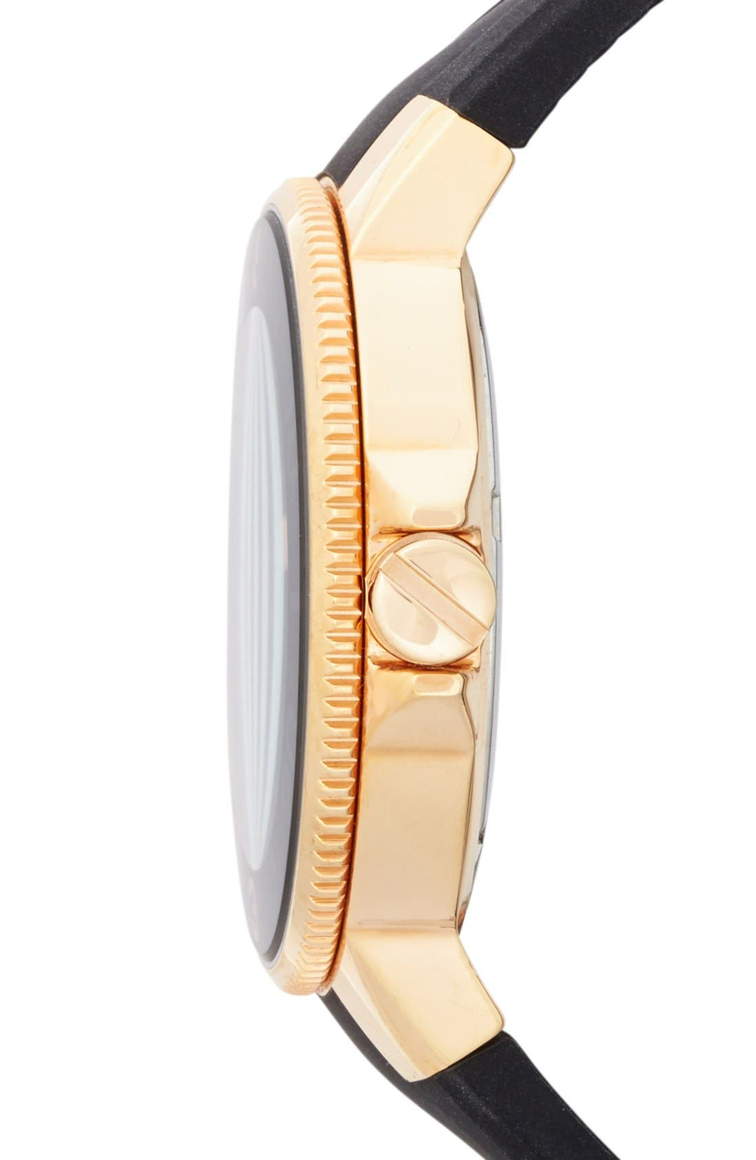 VINCE CAMUTO, Silicone Strap Watch, 38mm, Alternate thumbnail 2, color, 001