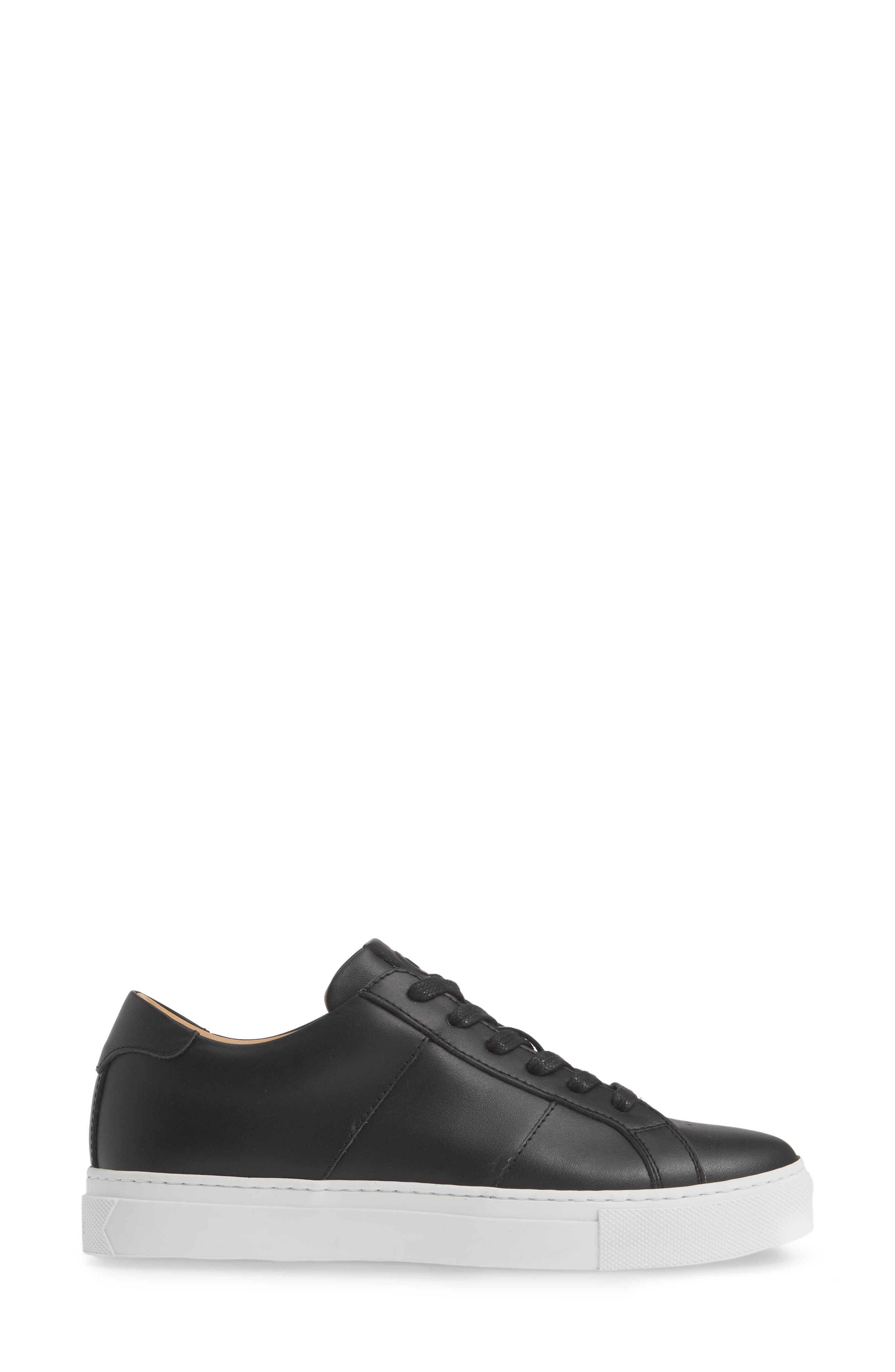 GREATS, Royale Low Top Sneaker, Alternate thumbnail 3, color, BLACK LEATHER