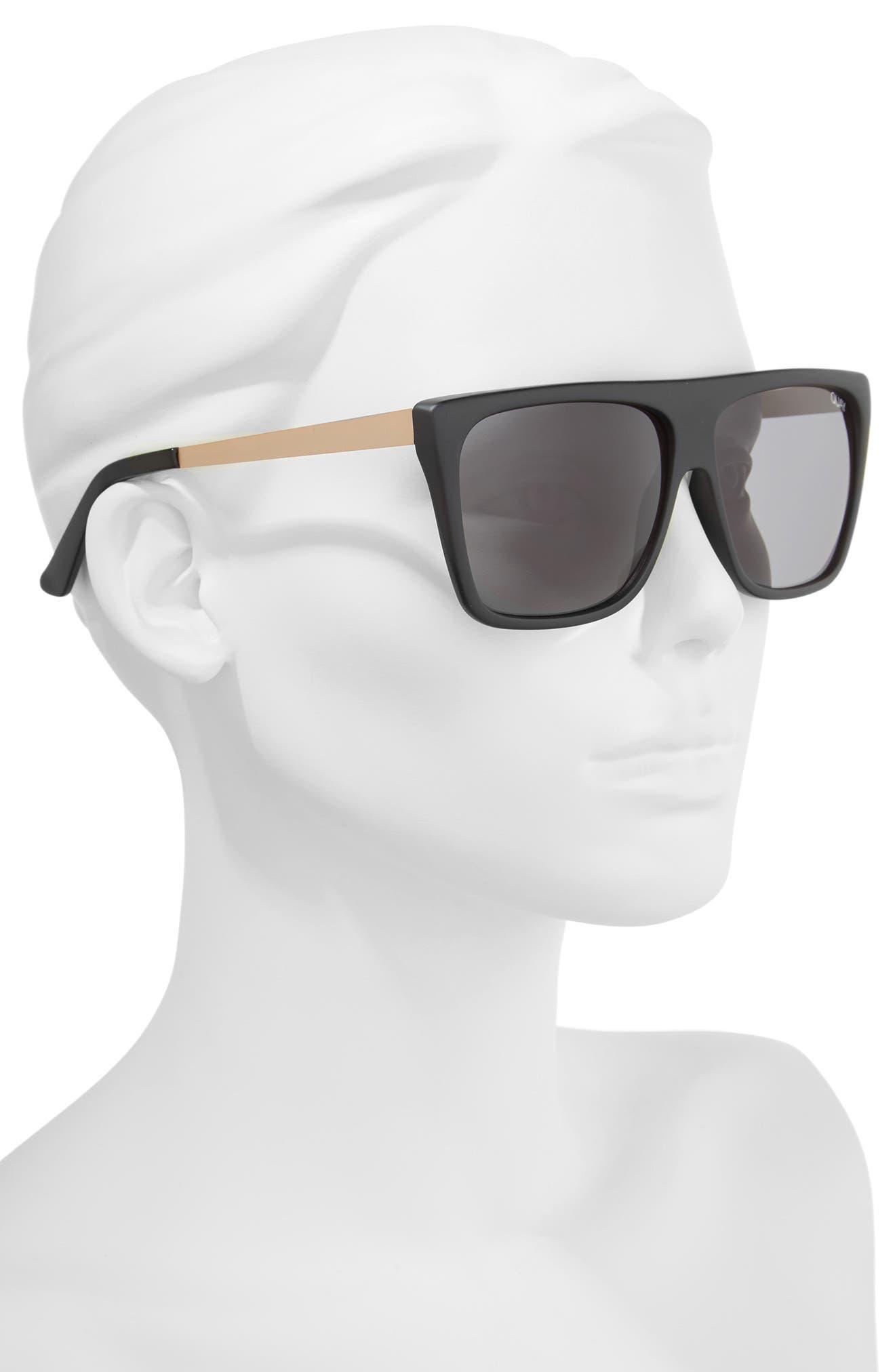 QUAY AUSTRALIA, x Desi Perkins On the Low 60mm Square Sunglasses, Alternate thumbnail 2, color, BLACK/ SMOKE