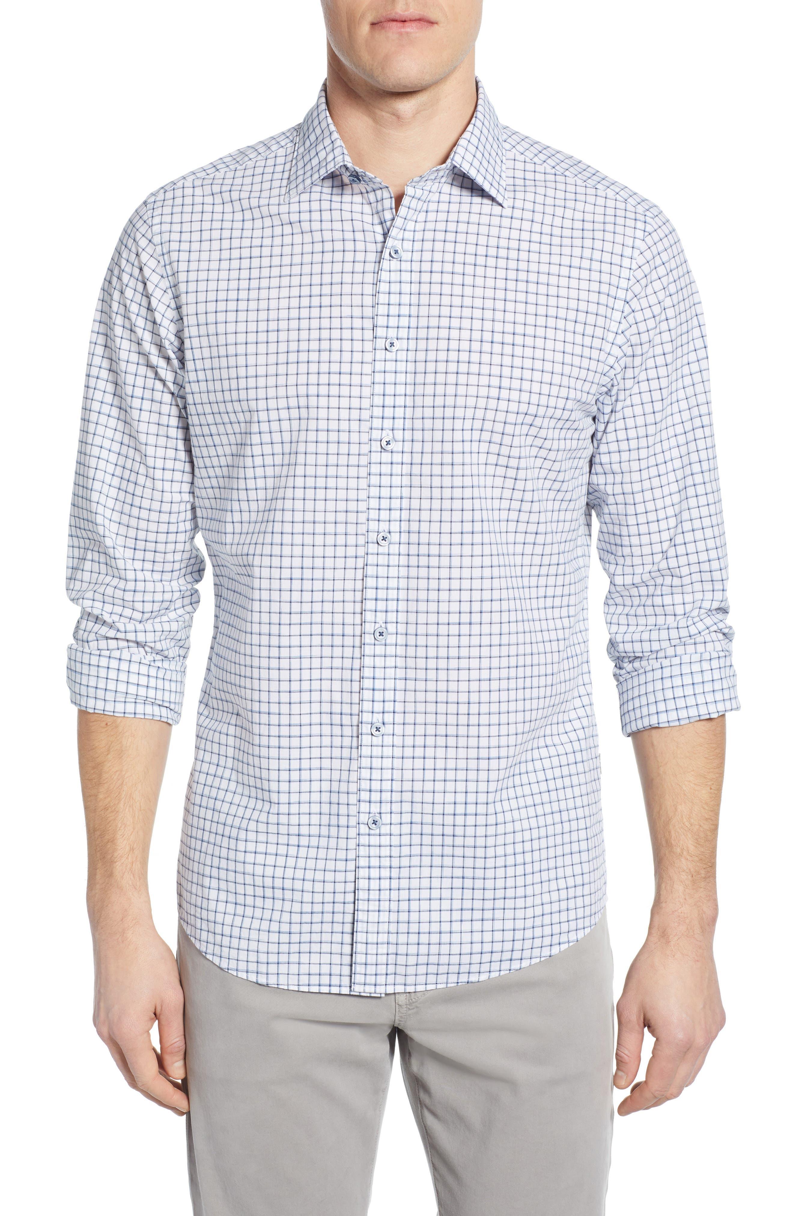 RODD & GUNN Gowerville Regular Fit Check Sport Shirt, Main, color, SNOW