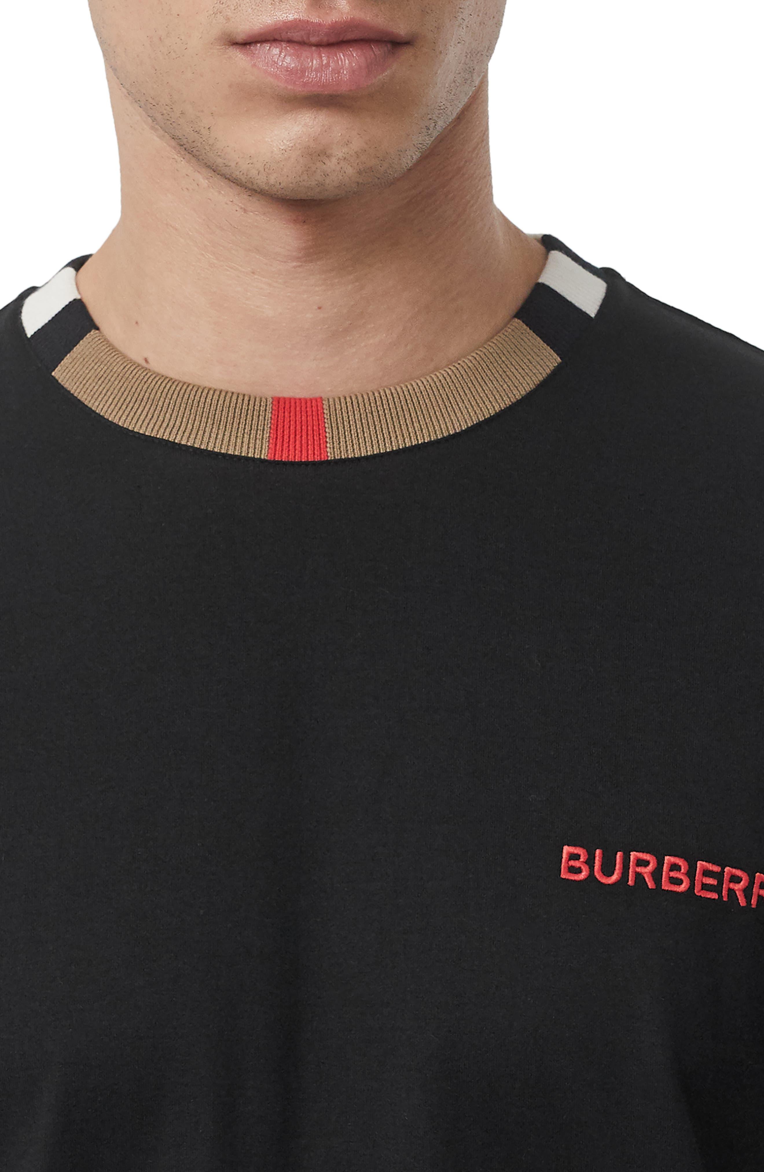 BURBERRY, Jayson Icon Stripe T-Shirt, Alternate thumbnail 4, color, BLACK