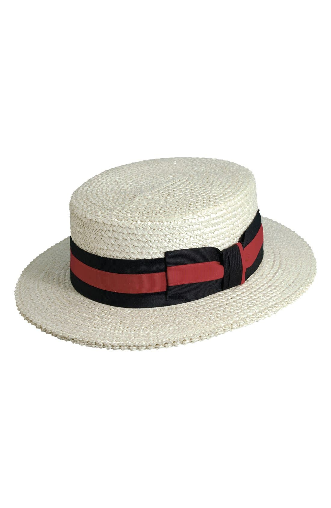 SCALA Straw Boater Hat, Main, color, BLEACH