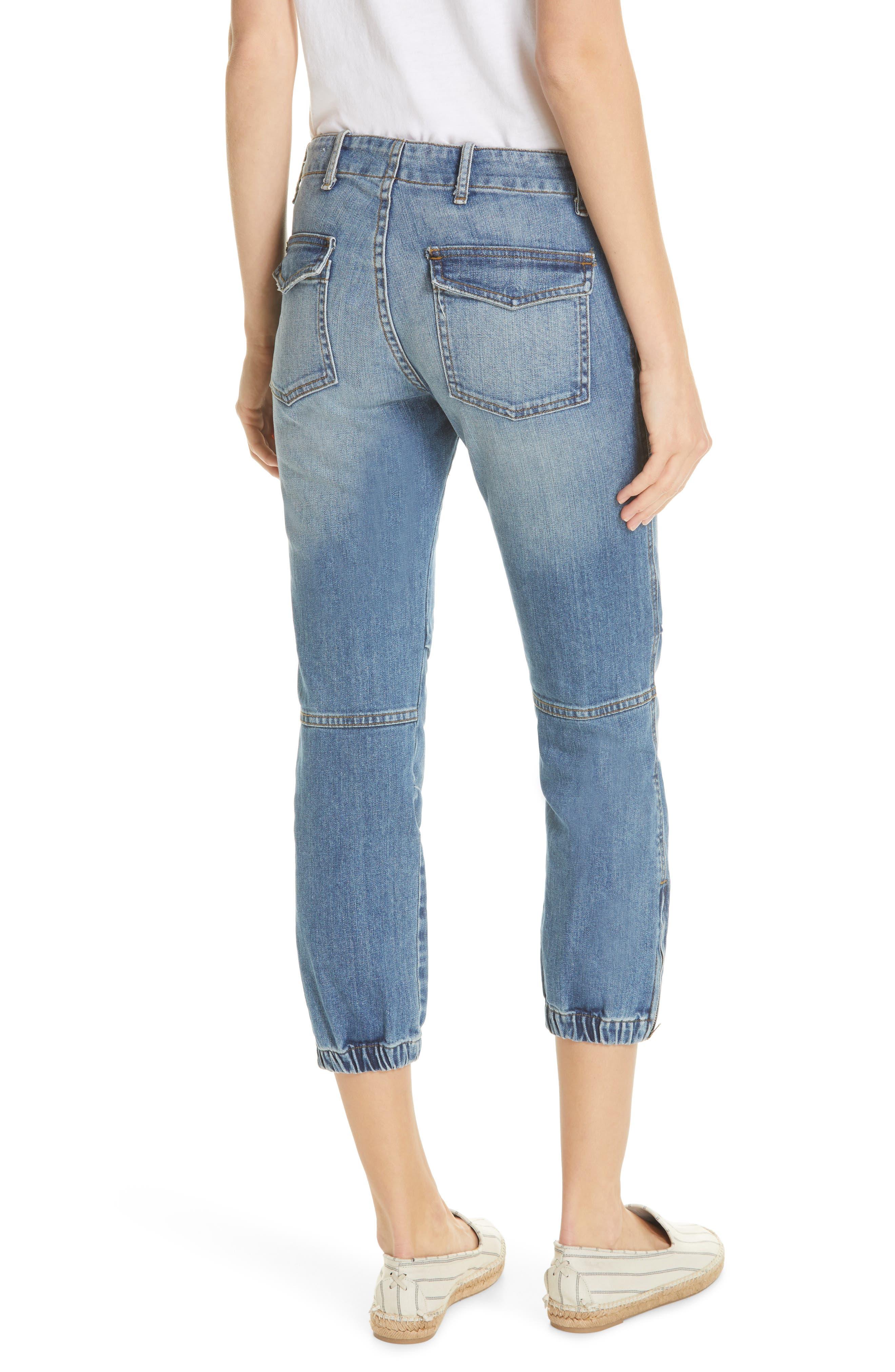 NILI LOTAN, Crop French Military Jeans, Alternate thumbnail 2, color, DUANE WASH