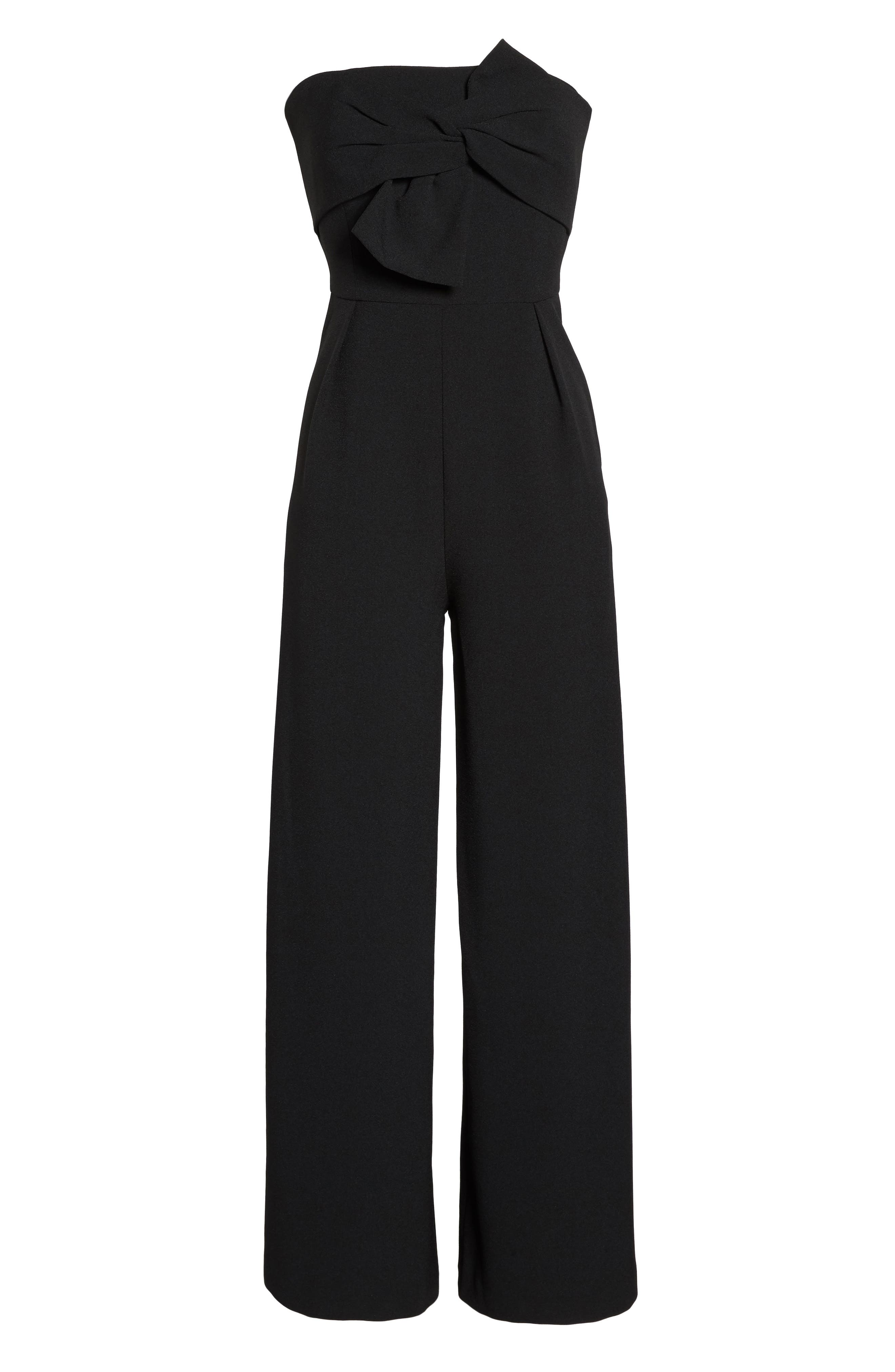 CHELSEA28, Strapless Jumpsuit, Alternate thumbnail 6, color, BLACK