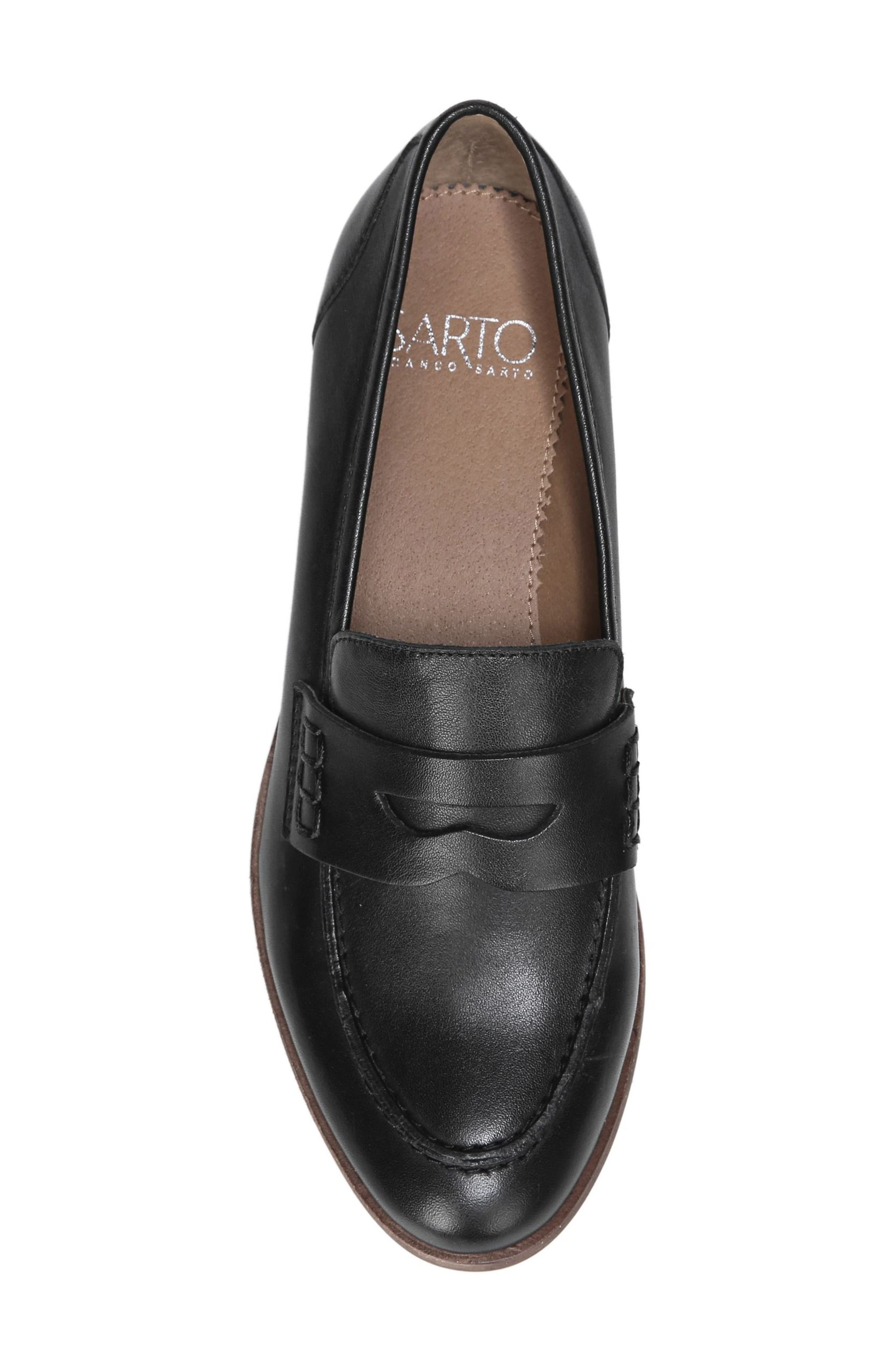 SARTO BY FRANCO SARTO, 'Jolette' Penny Loafer, Alternate thumbnail 5, color, BLACK LEATHER