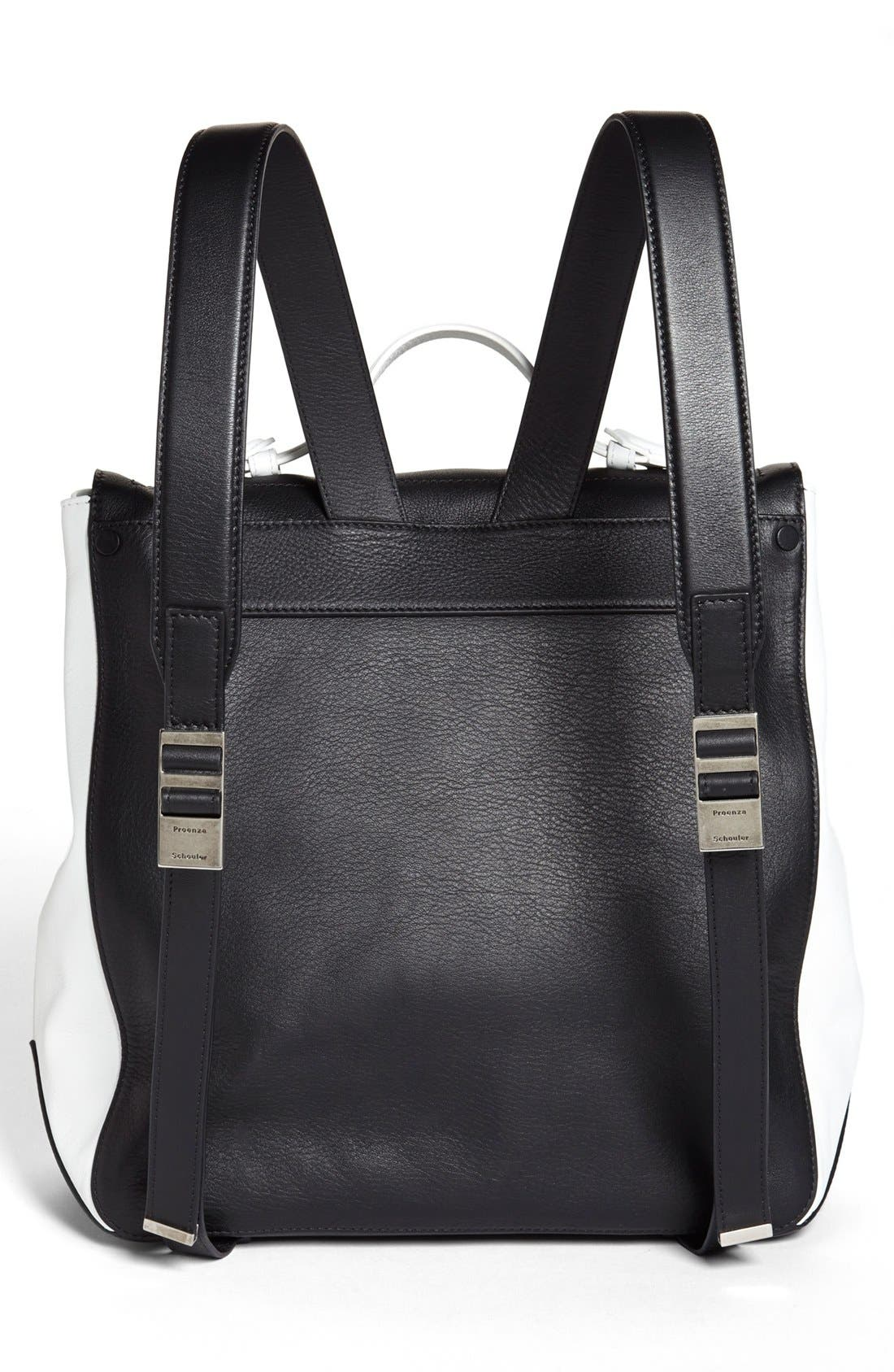 PROENZA SCHOULER, Calfskin Leather Backpack, Alternate thumbnail 4, color, 010