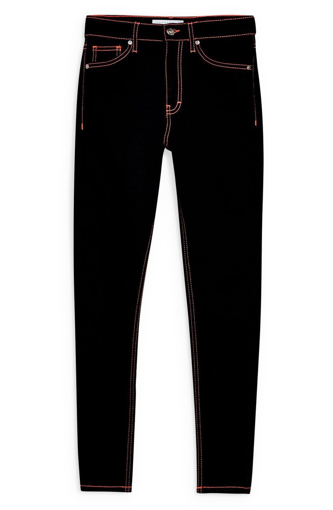 TOPSHOP, Jamie Neon Stitch High Waist Ankle Skinny Jeans, Alternate thumbnail 4, color, BLACK MULTI