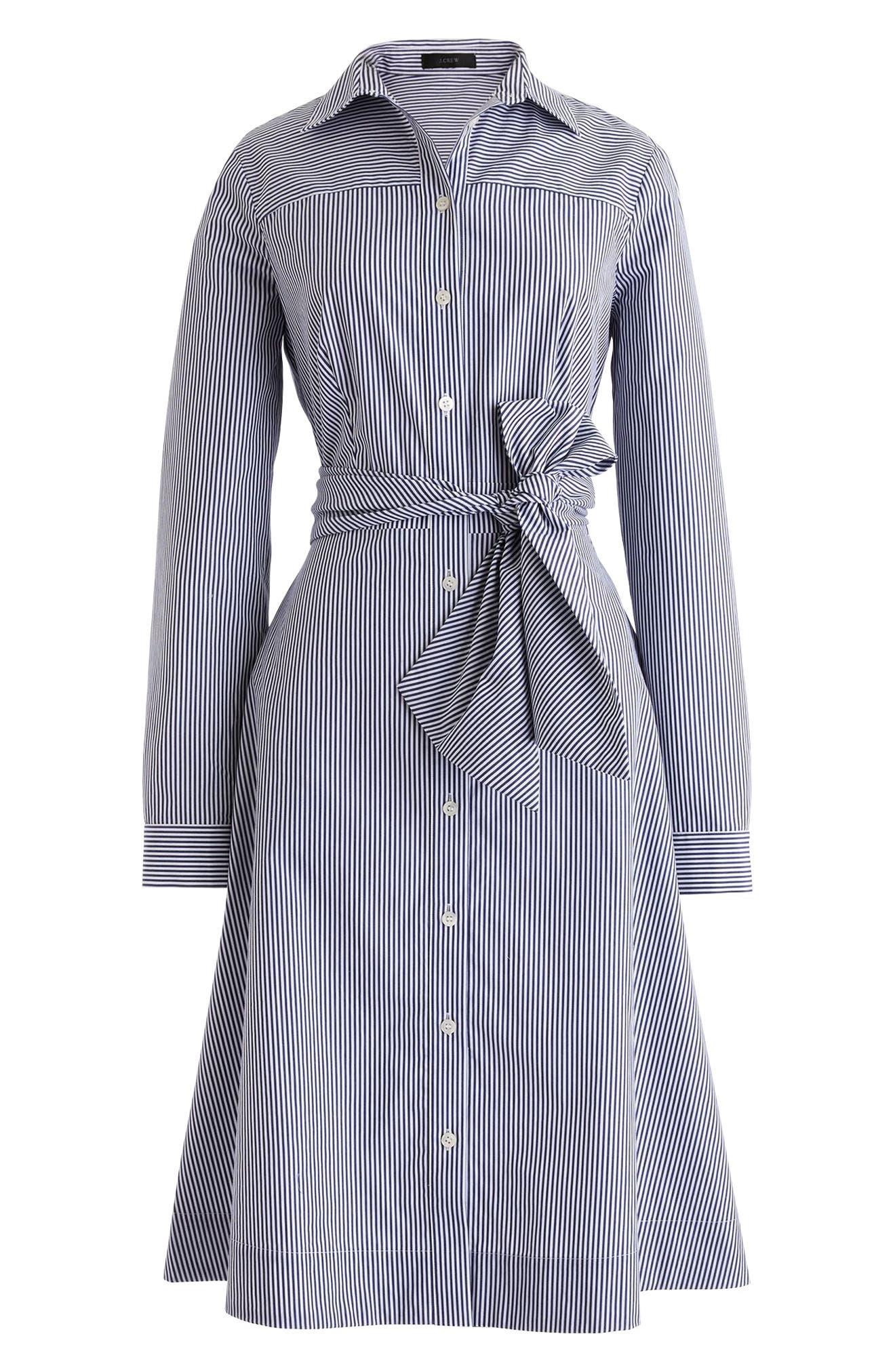 J.CREW, Stripe Tie-Waist Shirtdress, Alternate thumbnail 3, color, WHITE NAVY